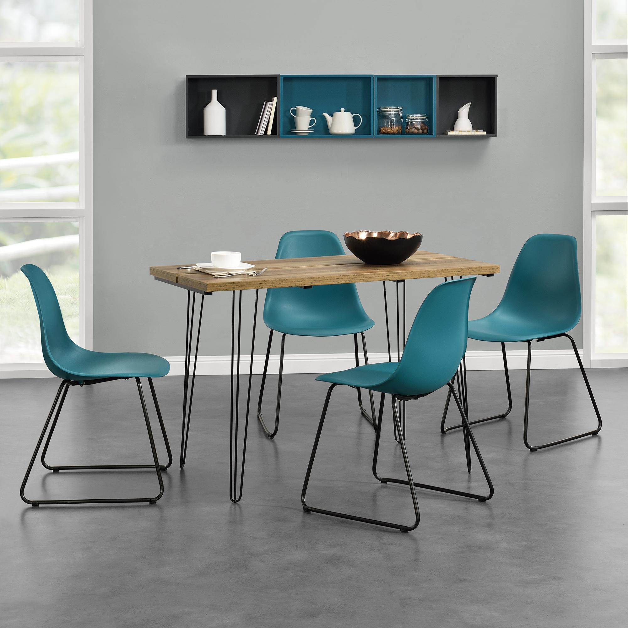 [en.casa]® Designový jídelní stůl - imitace dřeva + 4 ks židlí - tyrkysové