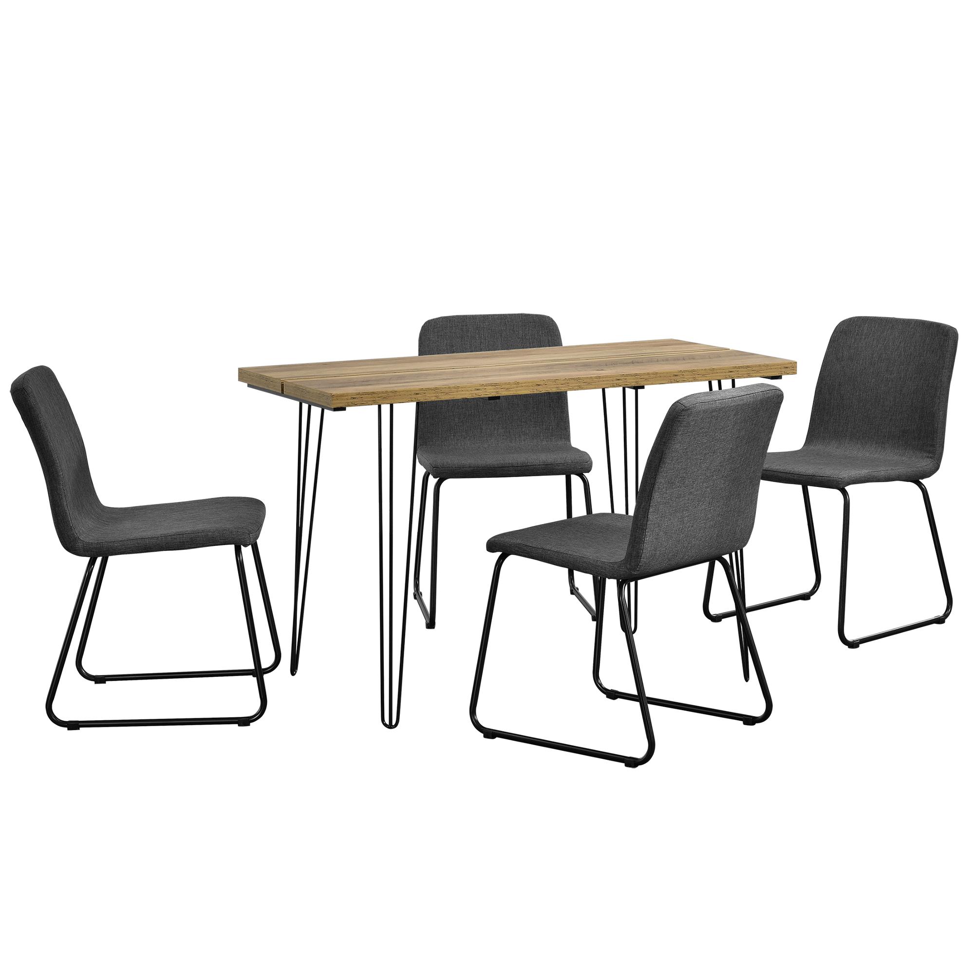 esstisch 120x60cm hairpinlegs mit 4 st hlen grau textil essgruppe 4059438116810 ebay. Black Bedroom Furniture Sets. Home Design Ideas