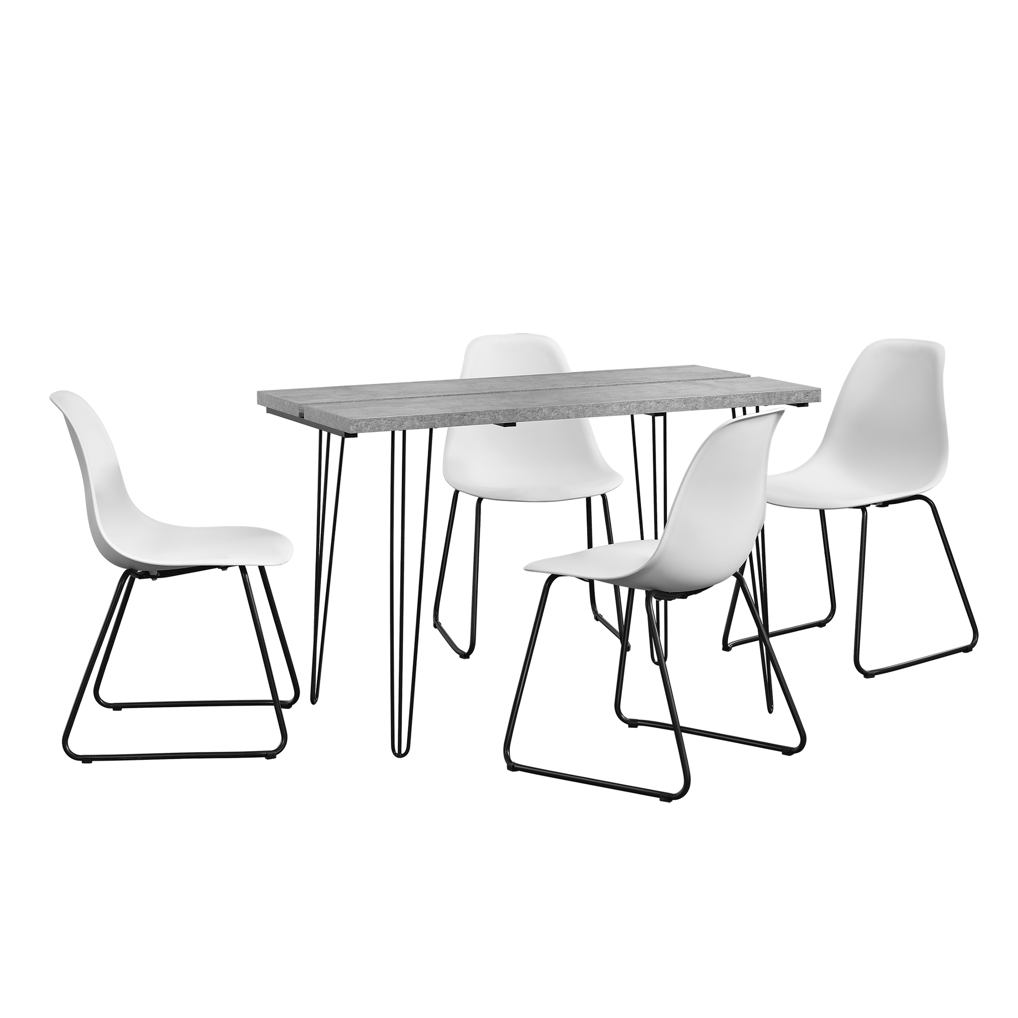 [en.casa]® Designový jídelní stůl - imitace betonu + 4 ks židlí - bílé