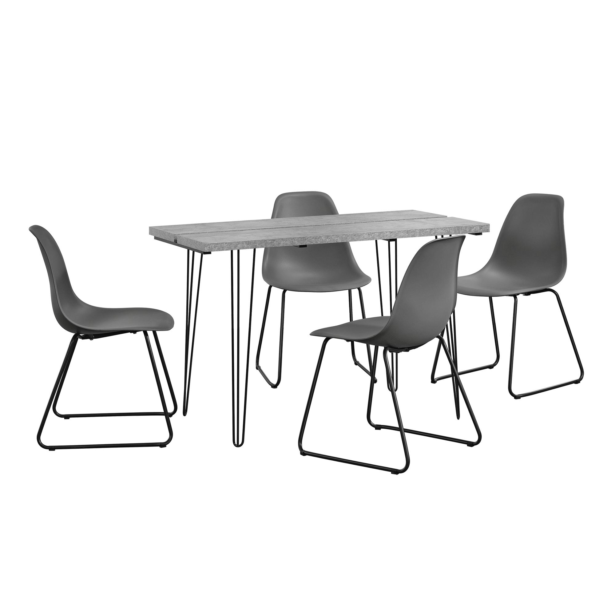 [en.casa]® Designový jídelní stůl AANT-0310 + 4 ks židlí AANE-1202 - tmavě šedé