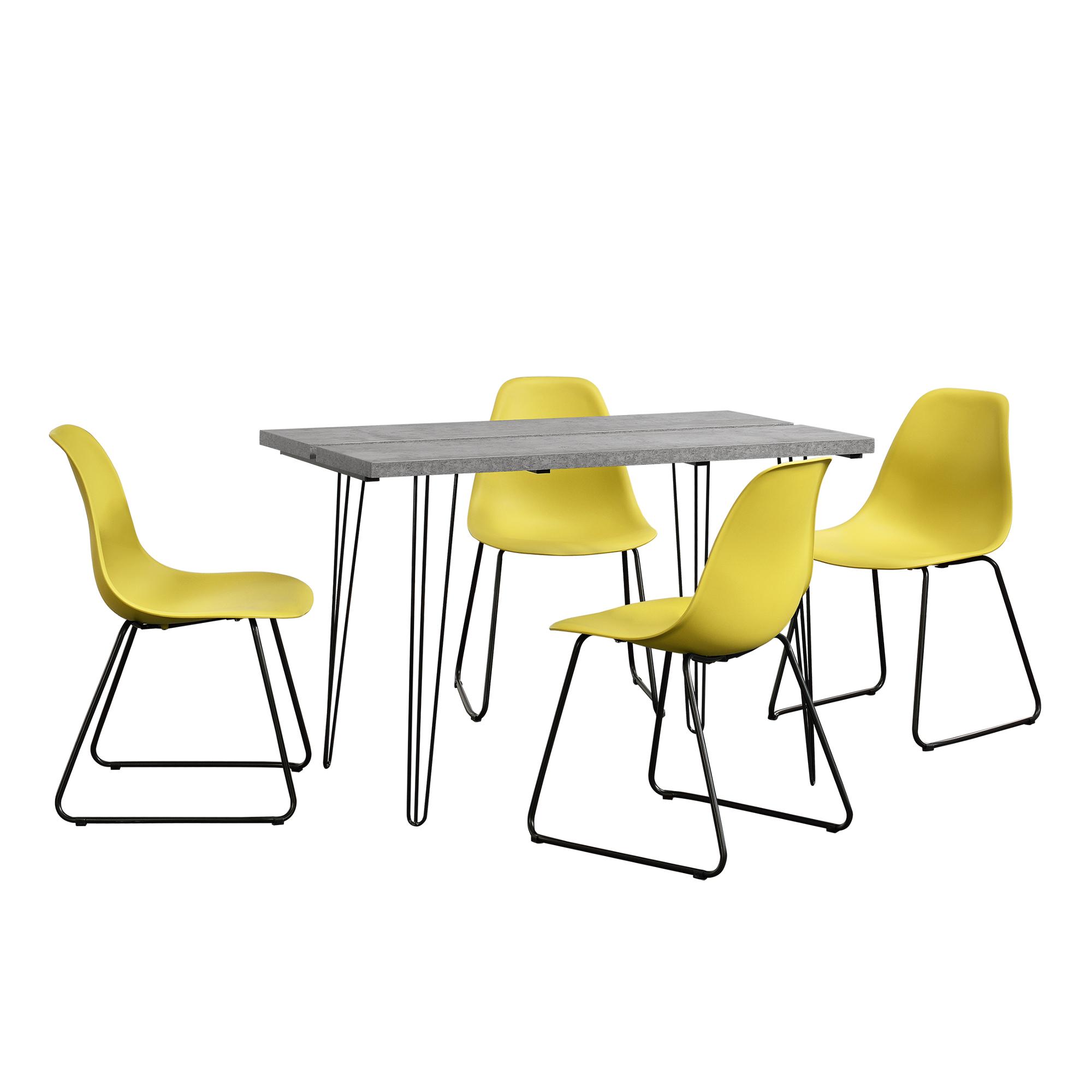 [en.casa]® Designový jídelní stůl - imitace betonu + 4 ks židlí - horčicově žluté