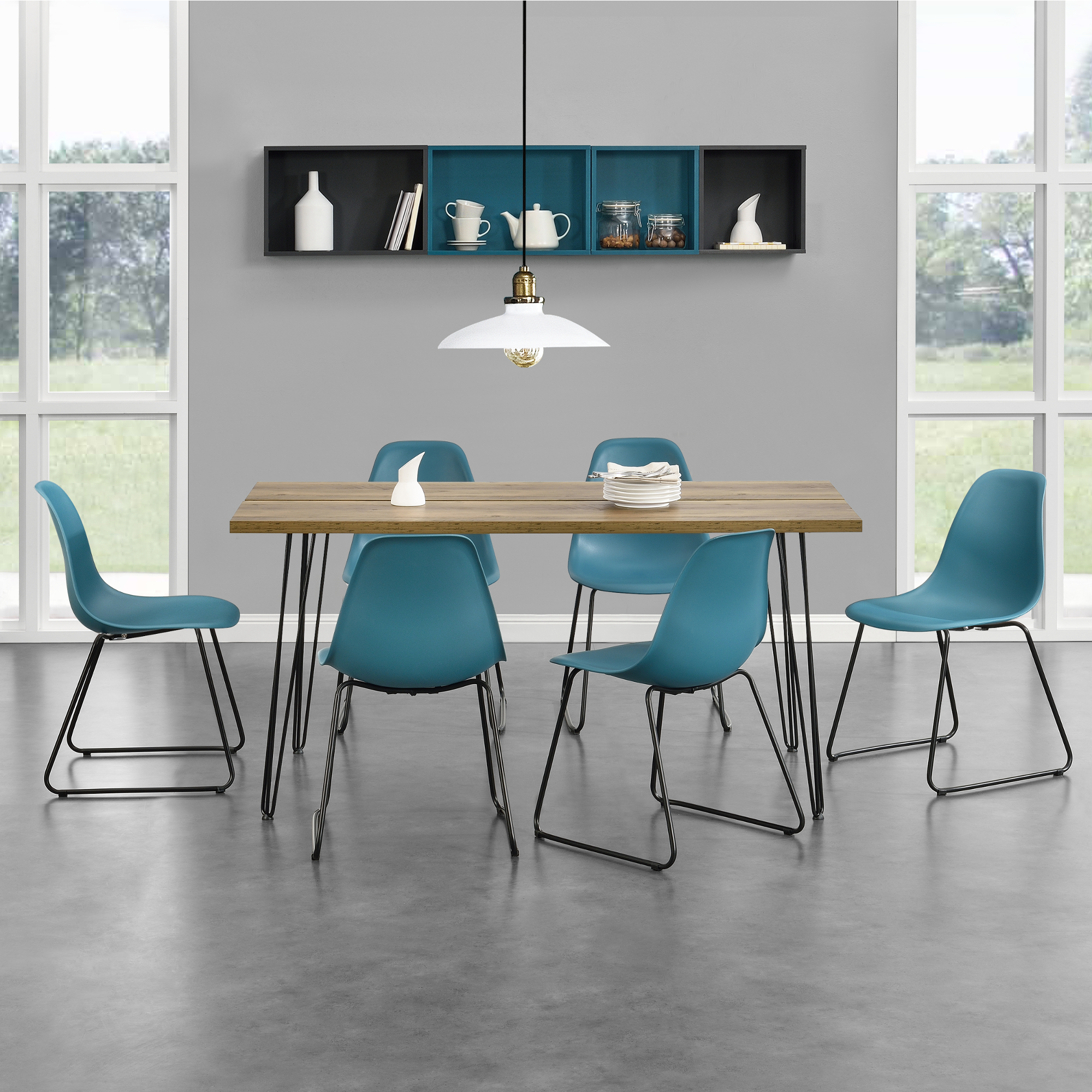 Mobel Wohnen Esstische Kuchentische Esstisch Mit 6 Stuhlen Grau Turkis 180x80cm Kuchentisch Esszimmertisch Ppipo Es