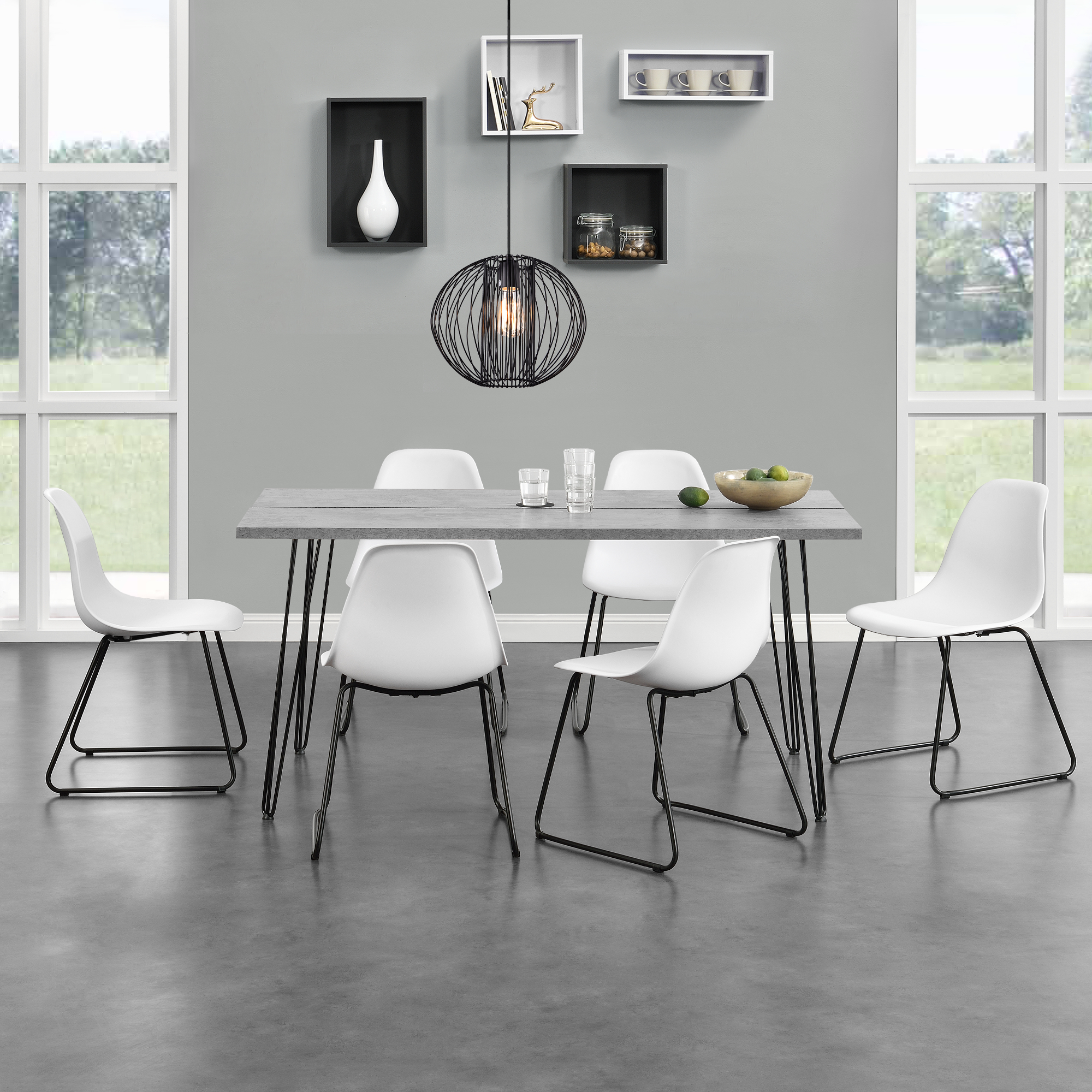 esstisch 120x60cm 160x75cm k chentisch esszimmer tisch hairpin legs ebay. Black Bedroom Furniture Sets. Home Design Ideas