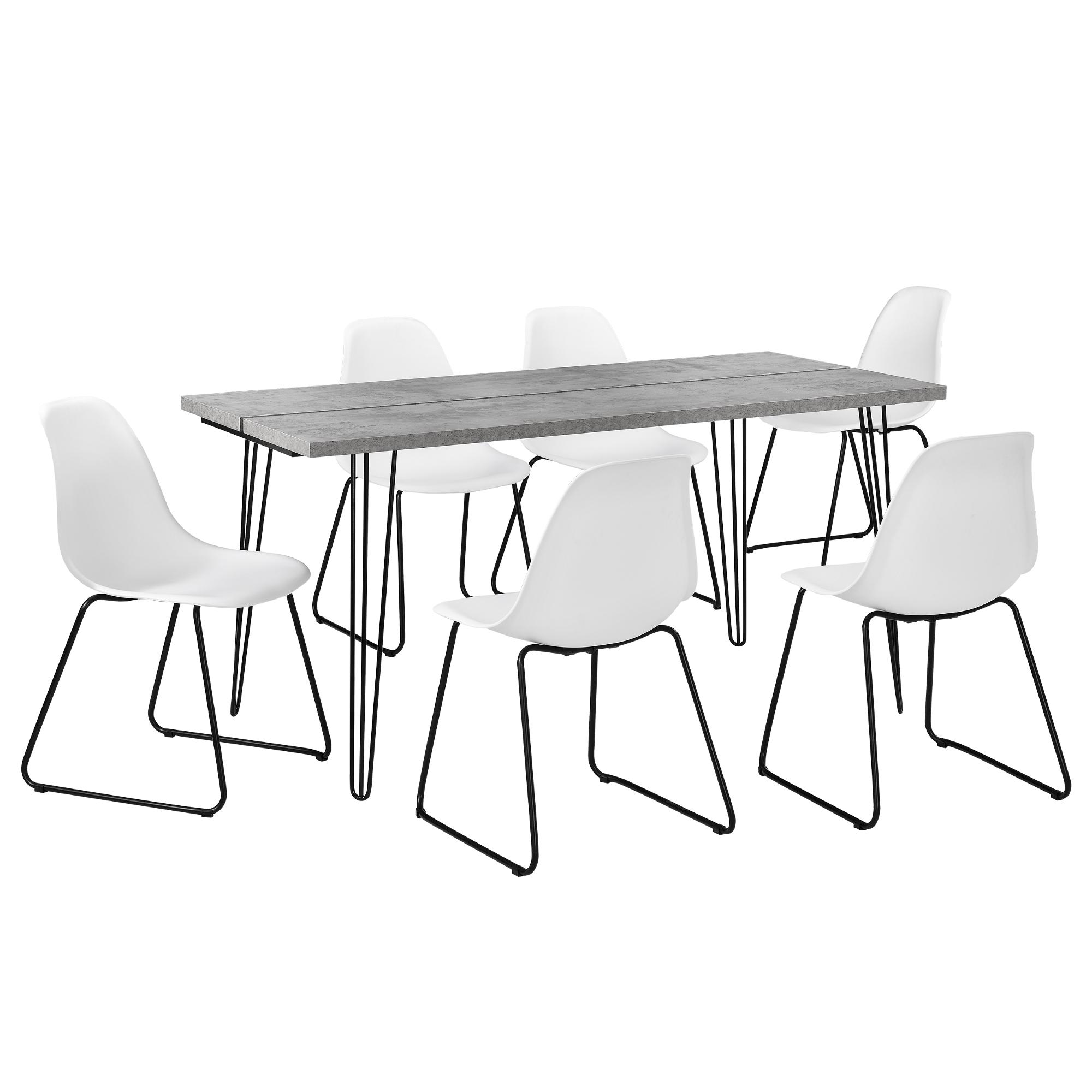 [en.casa]® Jídelní sestava 1 x stůl AANT-0312 + 6 x židle AANE-1201