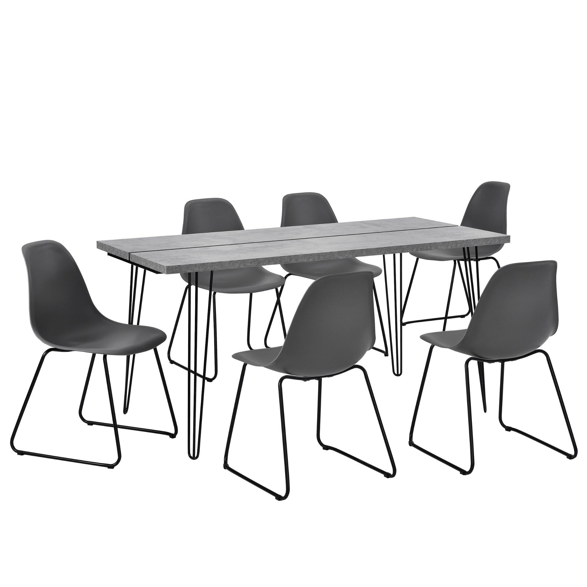 [en.casa]® Jídelní sestava 1 x stůl AANT-0312 + 6 x židle AANE-1202