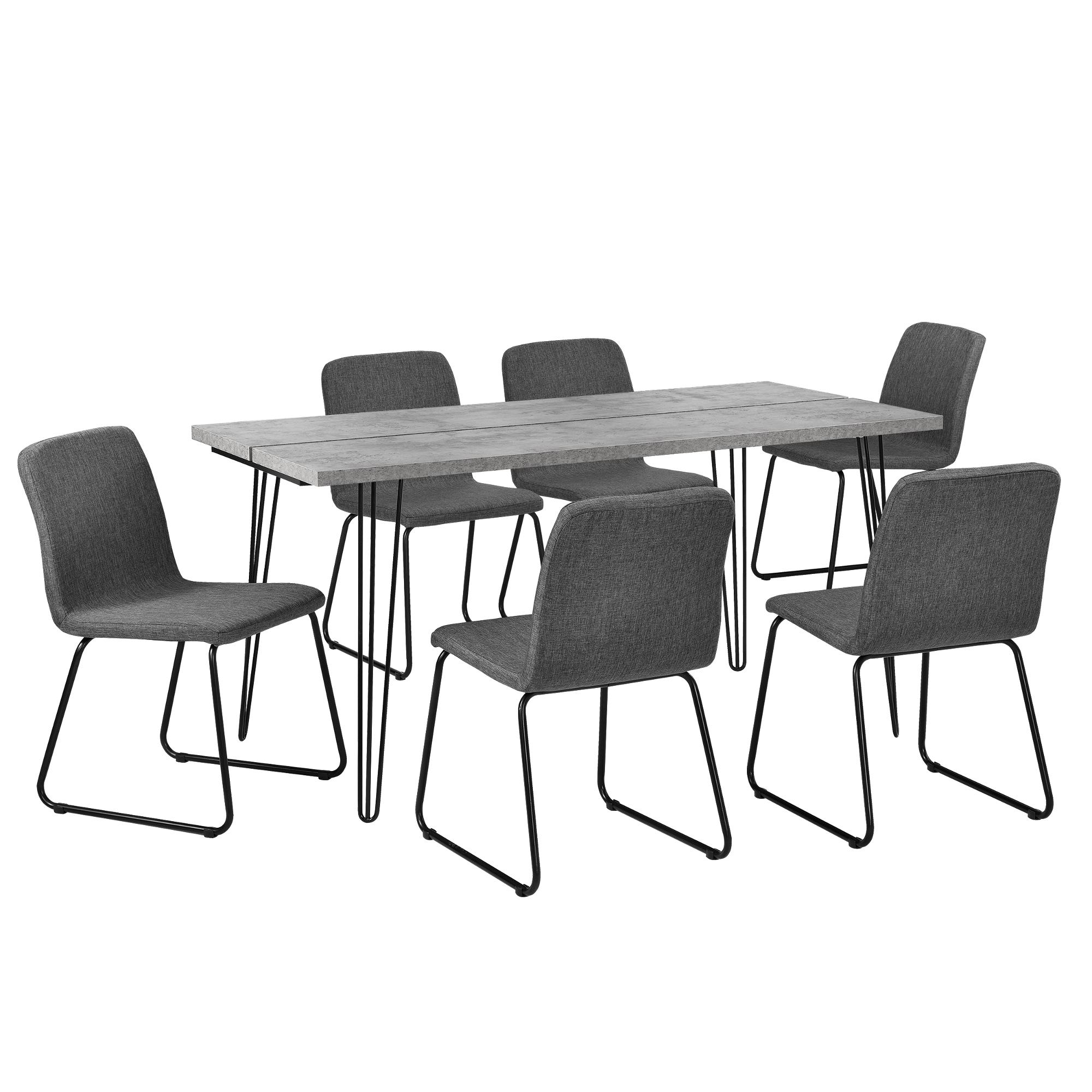 en.casa]® Esstisch 160x75cm Hairpinlegs mit 6 Stühlen grau Textil ...