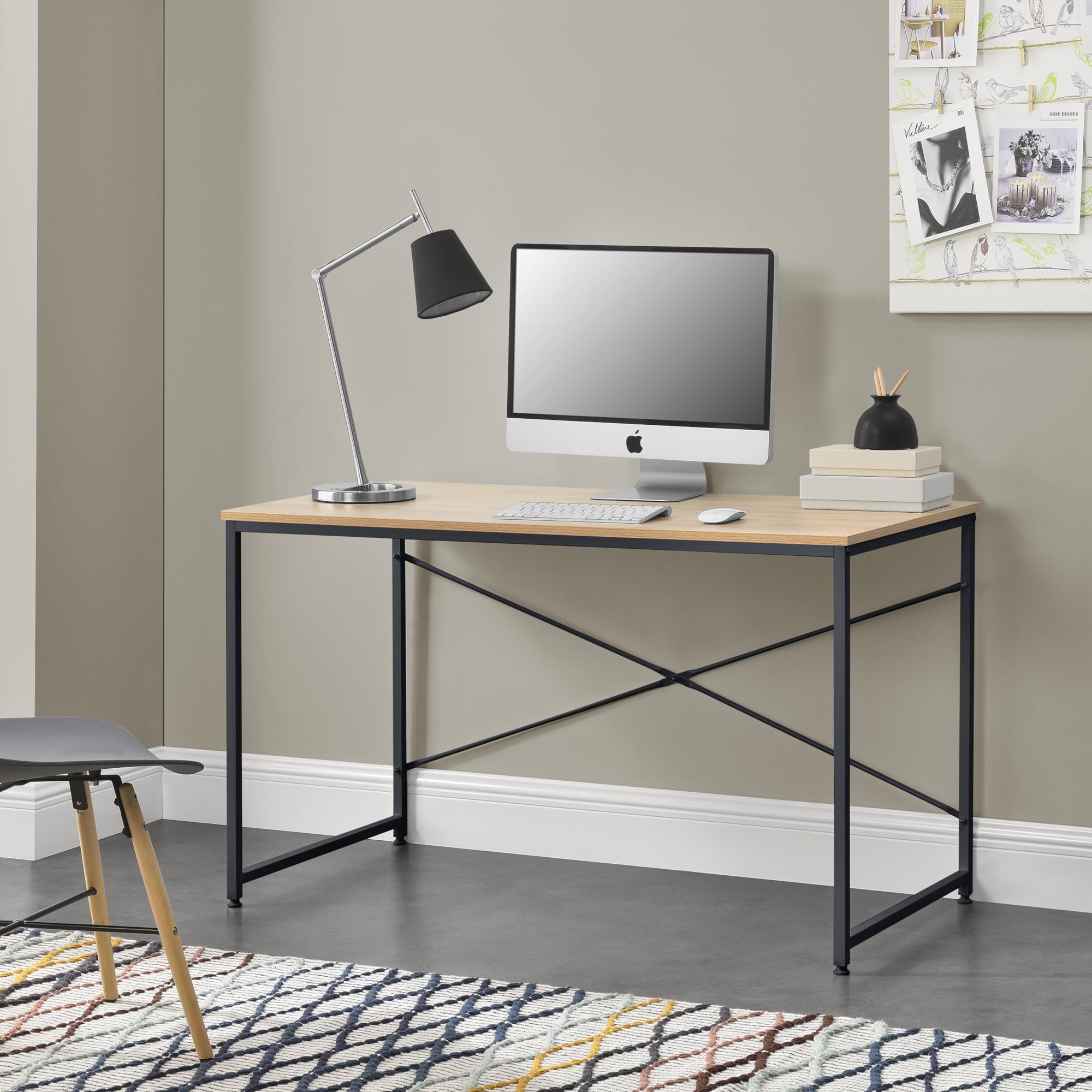 Image D Un Bureau De Travail détails sur [en.casa]® poste de travail table de bureau gaming Étude métal  mdf chêne noir
