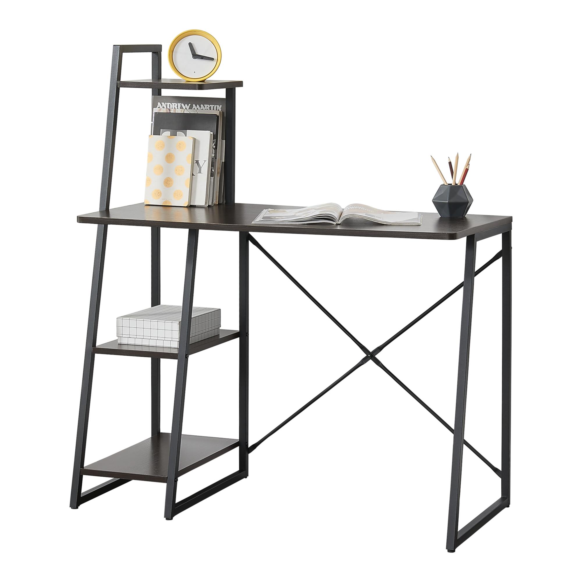 [en.casa]® Birou cu rafturi Aalborg, 117 x 102 x 50 cm, metal/PAL melaminat, negru/efect lemn de nuc inaltime reglabila, cu 3 rafturi