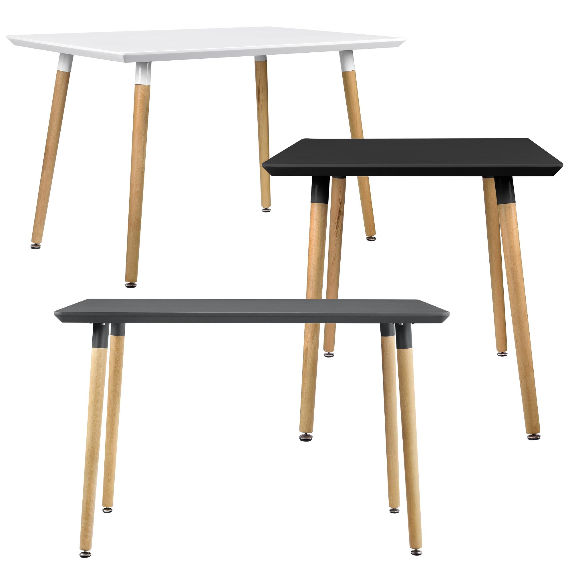 Esstisch 120x70cm Weiß Matt Eiche Küchentisch Esszimmer Tisch Retro ...
