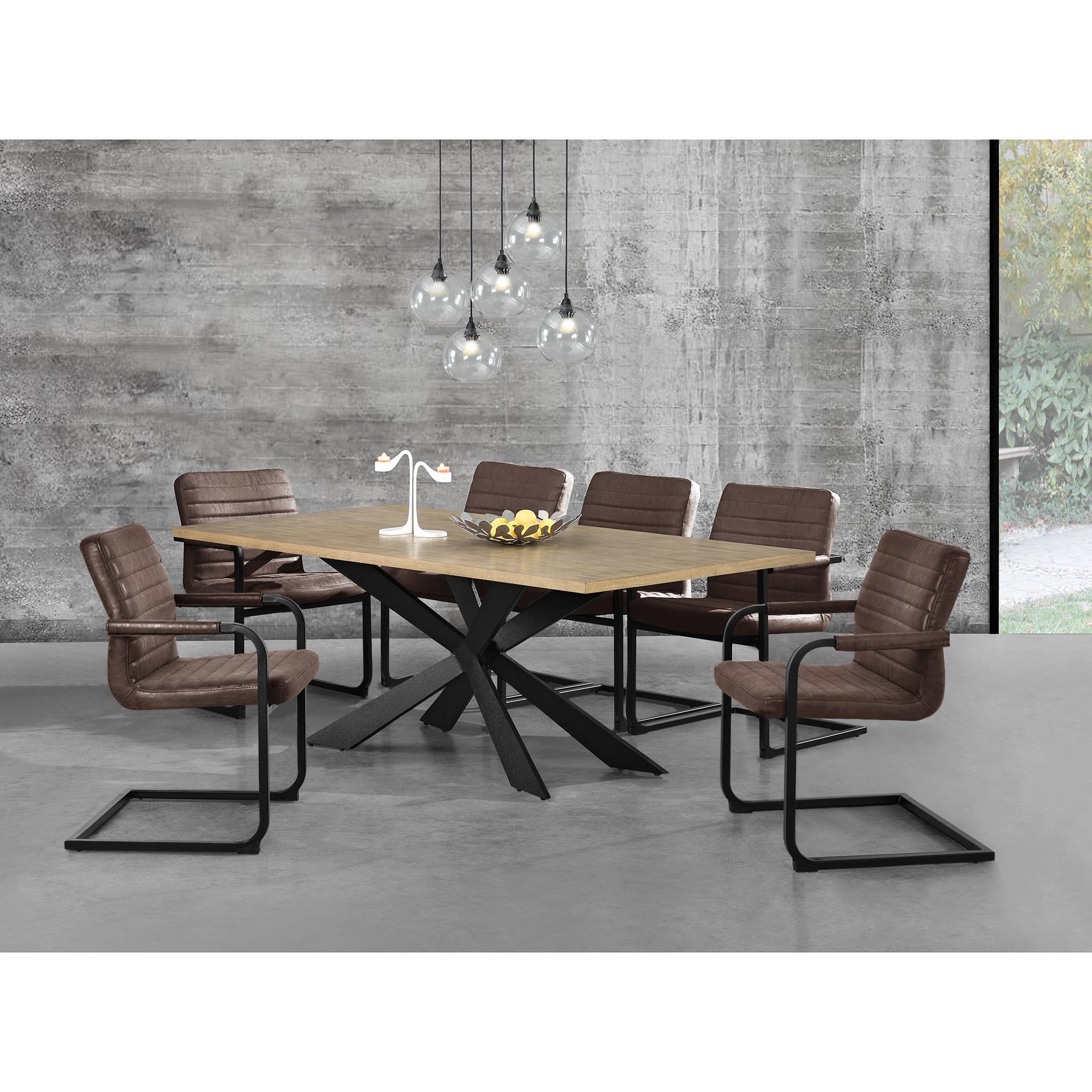 Tavolo da pranzo rovere con 6 sedie 200x100 for Tavolo marrone scuro