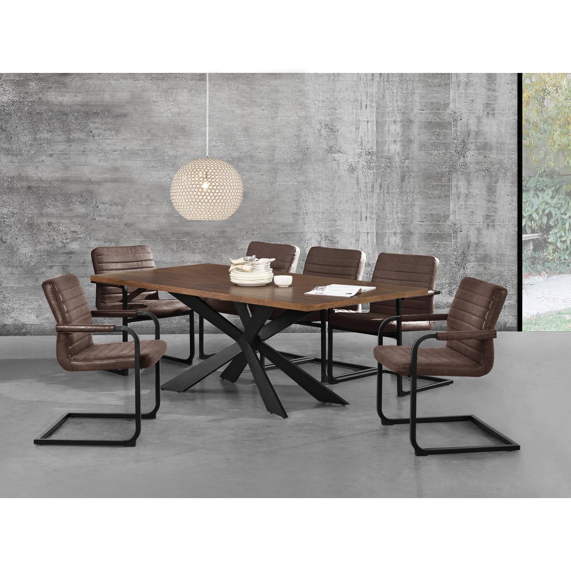 en.casa]® Esstisch Walnuss mit 6 Stühlen 200x100 Tisch Stühle ...