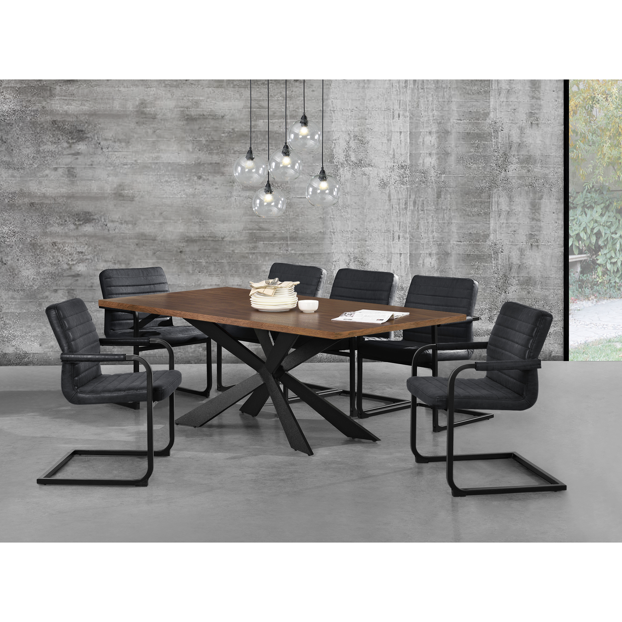 esstisch walnuss mit 6 st hlen 200x100 tisch st hle schwarz essgruppe ebay. Black Bedroom Furniture Sets. Home Design Ideas