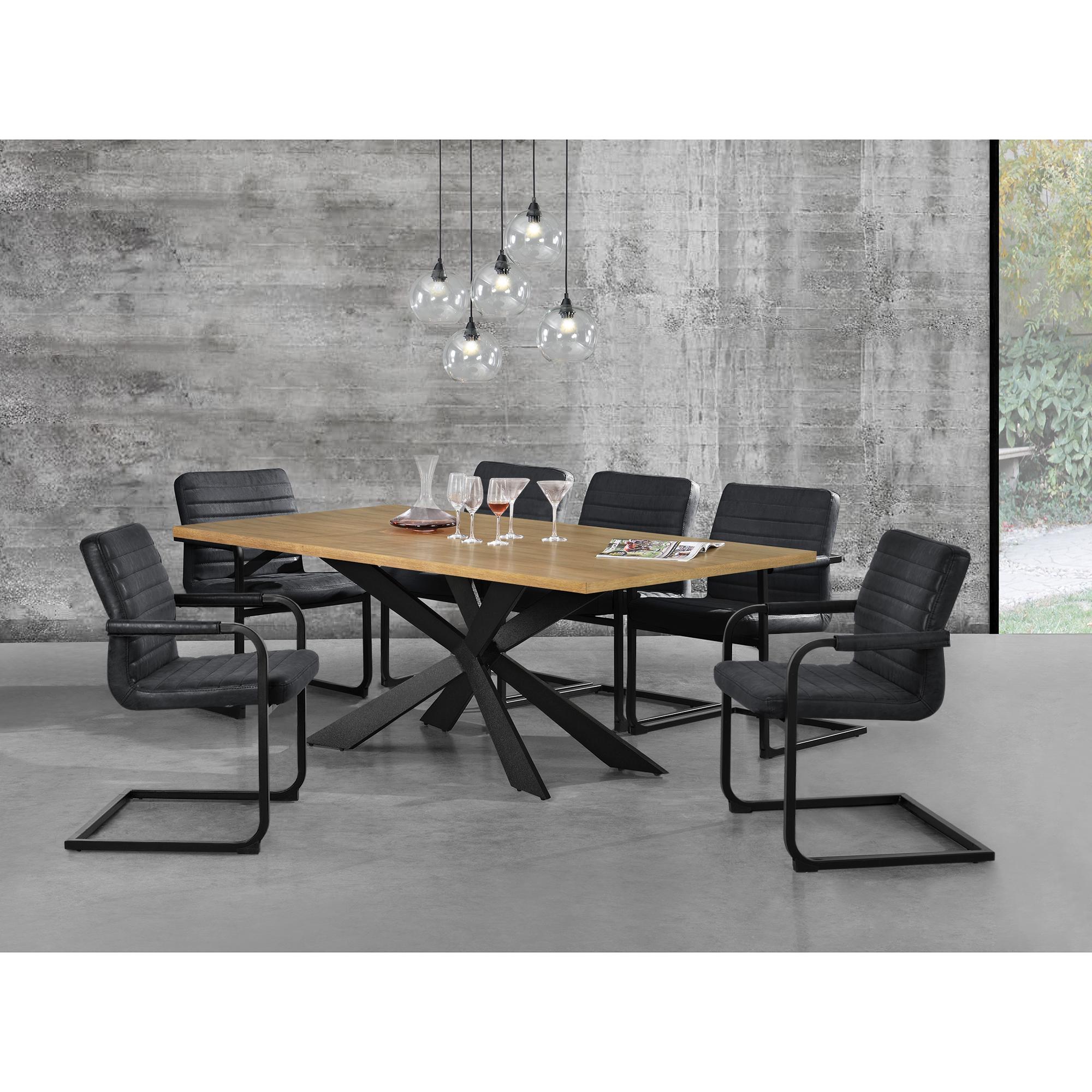 en.casa] Esstisch Eiche Natur mit 6 Stühlen 200x100 Tisch Stühle ...