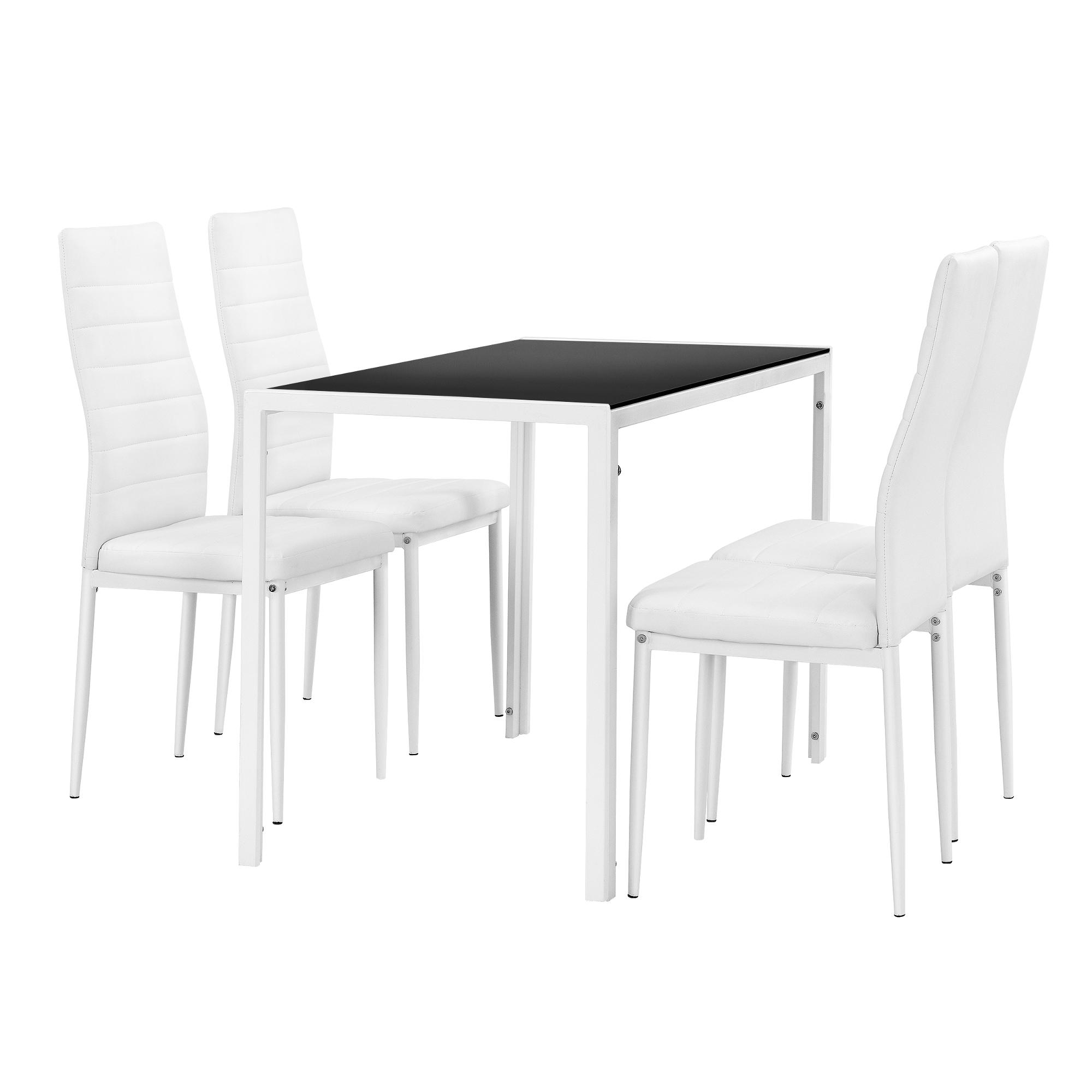 Détails sur [en.casa]Table à manger +4 chaises blanc/noir table de cuisine  / manger verre