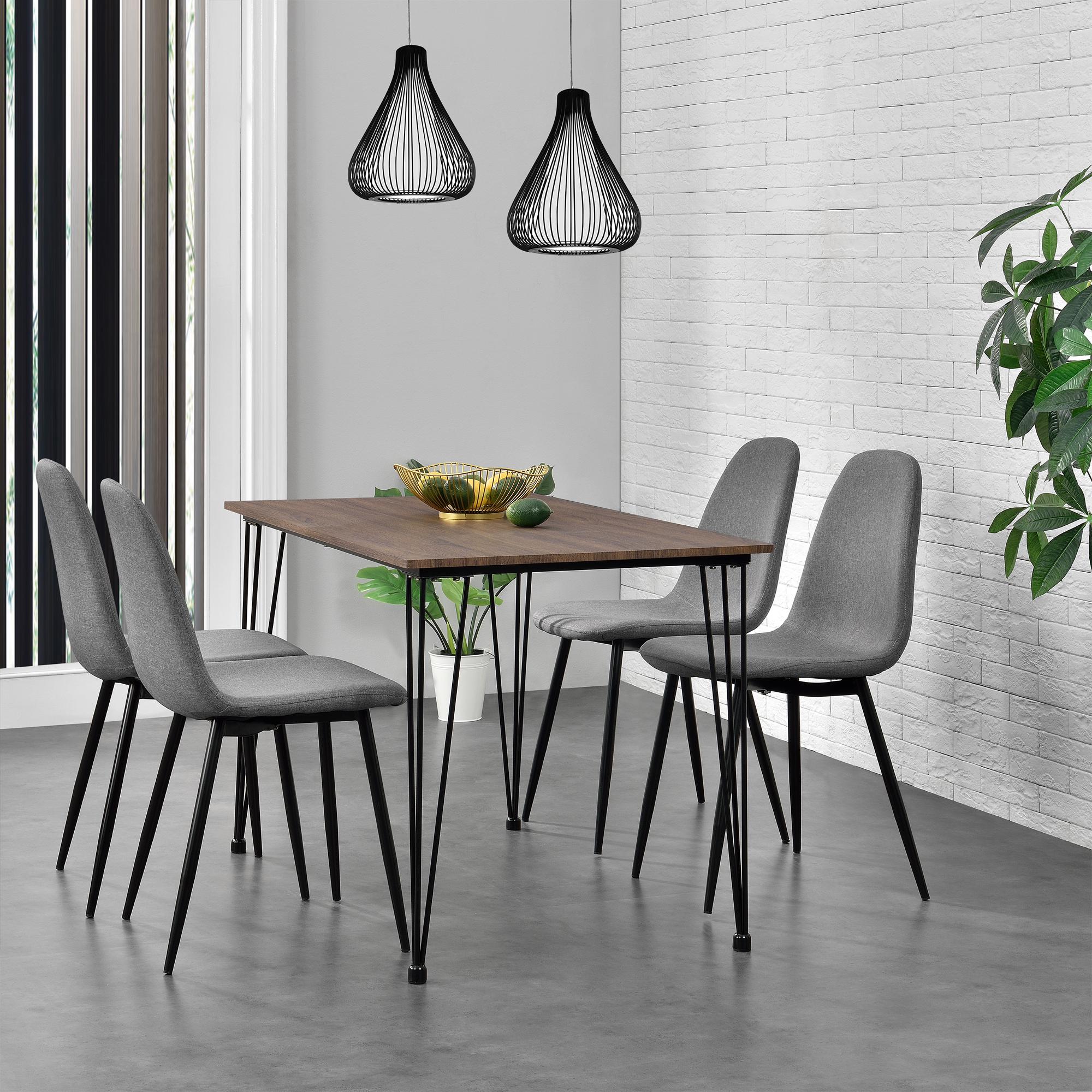 Tavolo da Pranzo con 4 Sedie Grigio 120x70cm Cucina Sala MDF | eBay