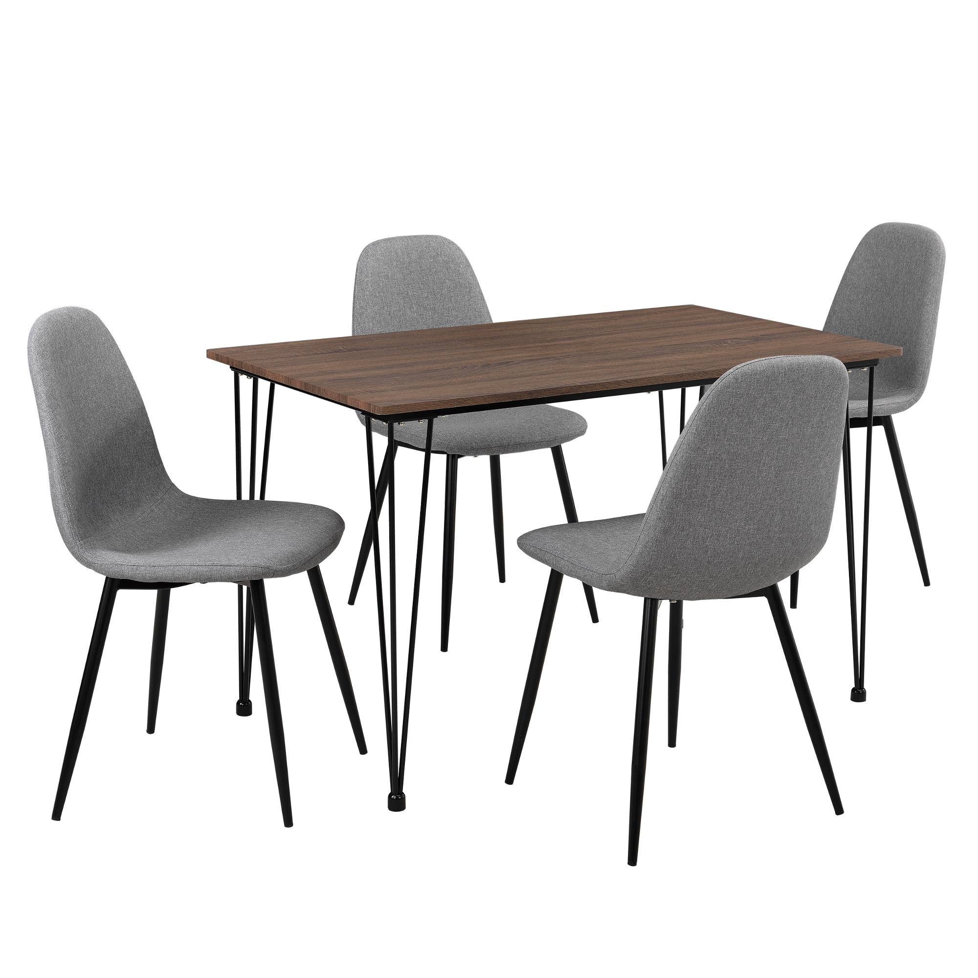 en.casa]® Esstisch mit 4 Stühlen grau 120x70cm Küchentisch ...