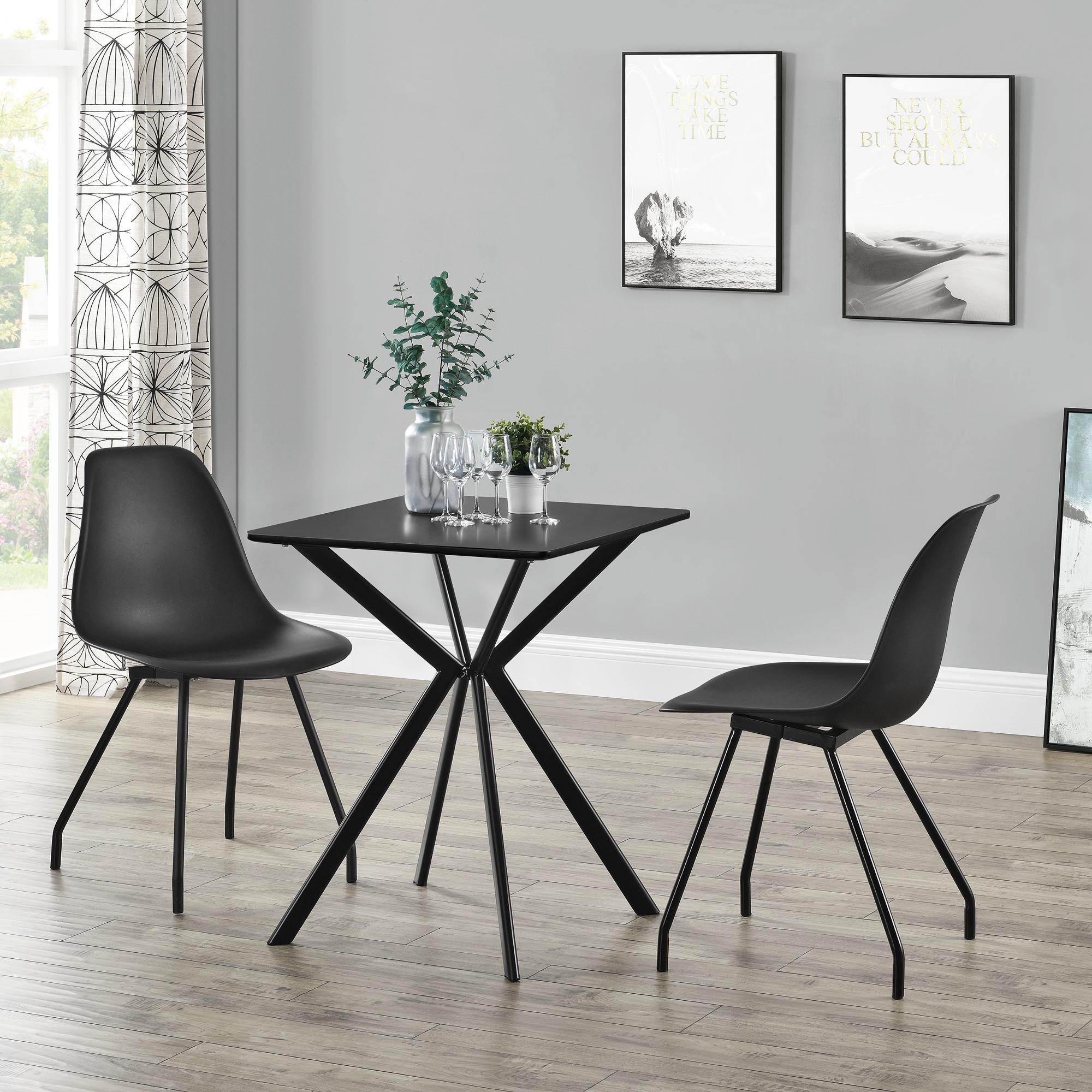 Dettagli su en.casa Tavolo da pranzo rettangolare design 60x60x75cm  Tavolino conferenze Nero