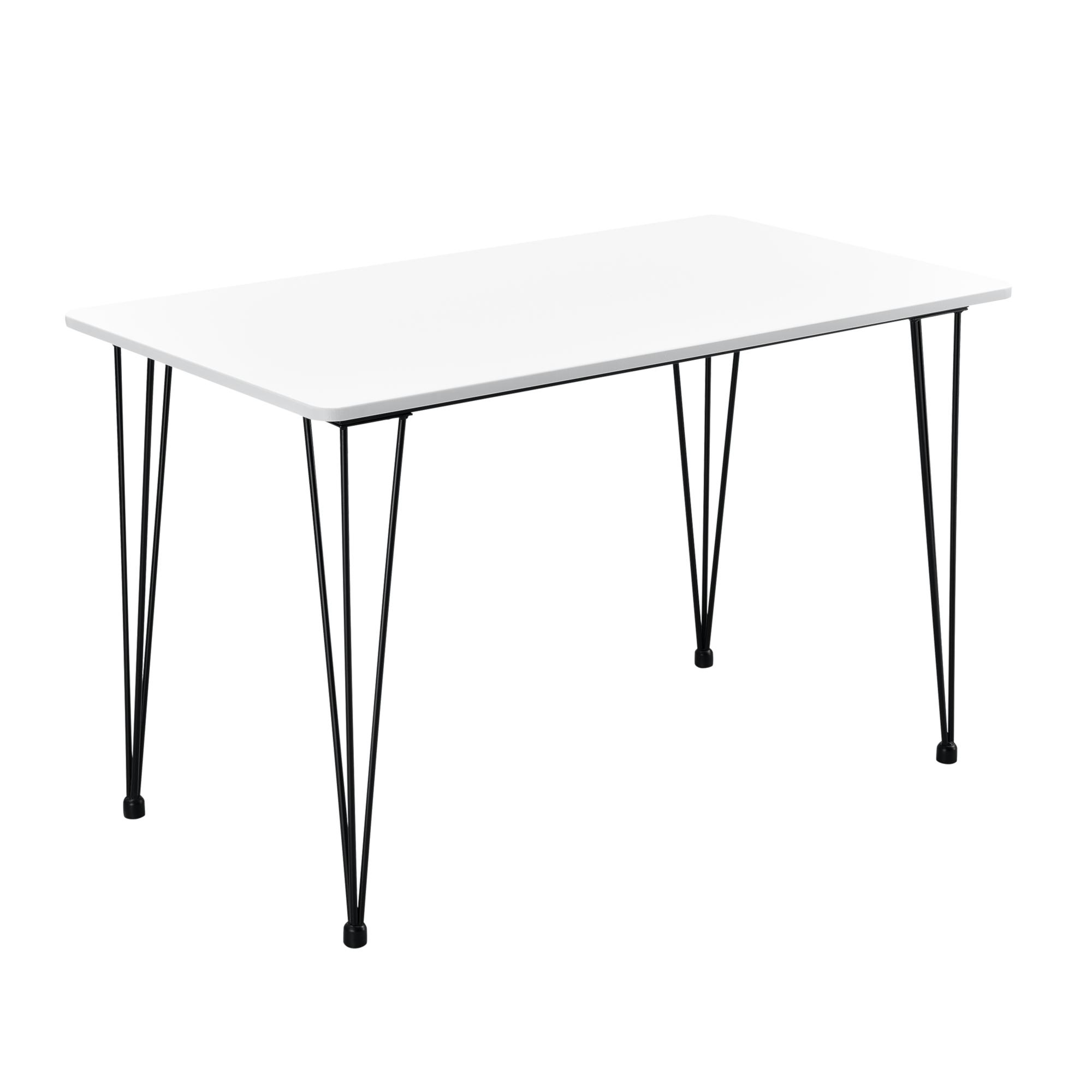 Détails sur [en.casa] Table de Salle à Manger Pieds Acier Hairpin 120 x 70  x 75cm Noir Blanc
