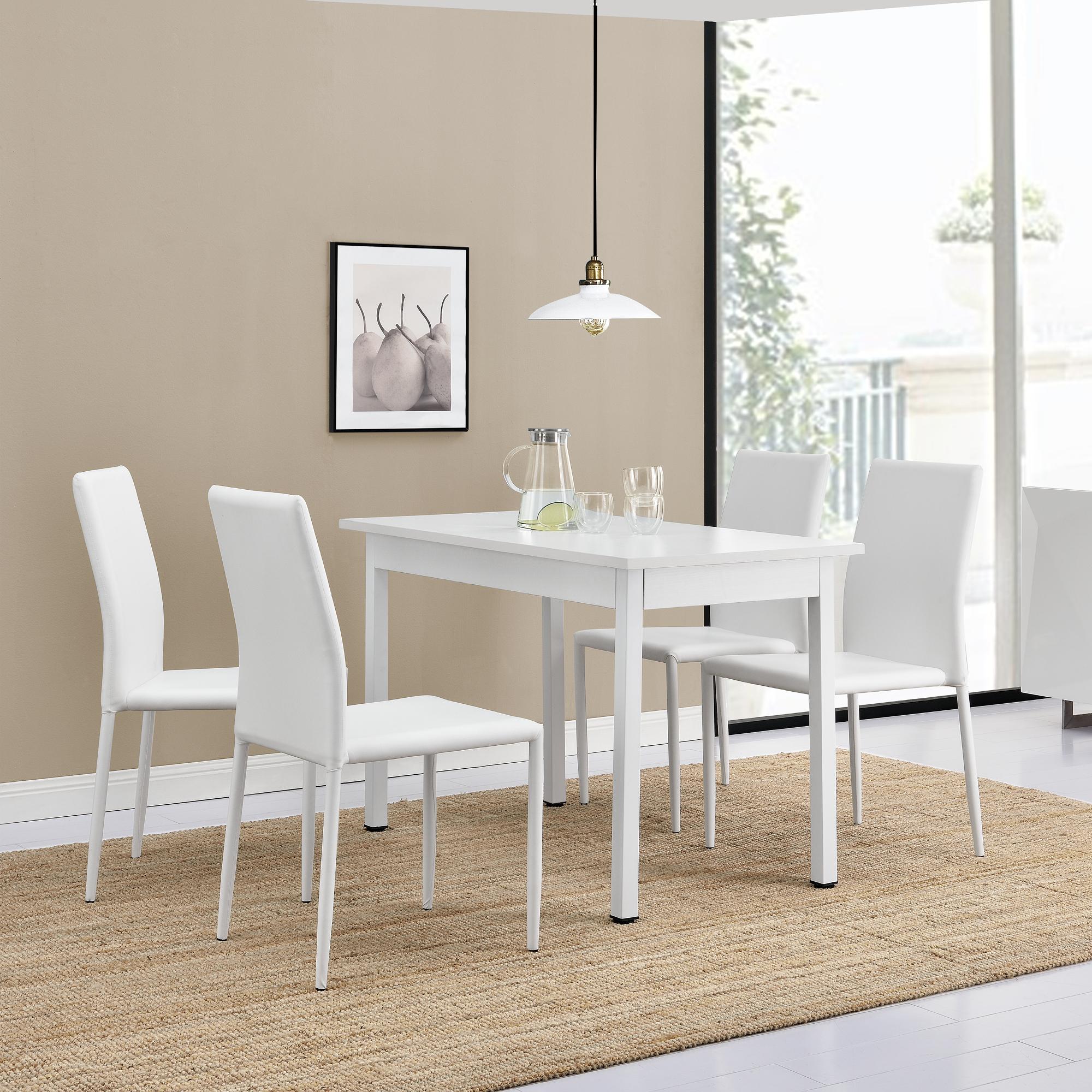 en.casa]® Esstisch mit 4 Stühlen weiß 120x60cm Küchentisch ...