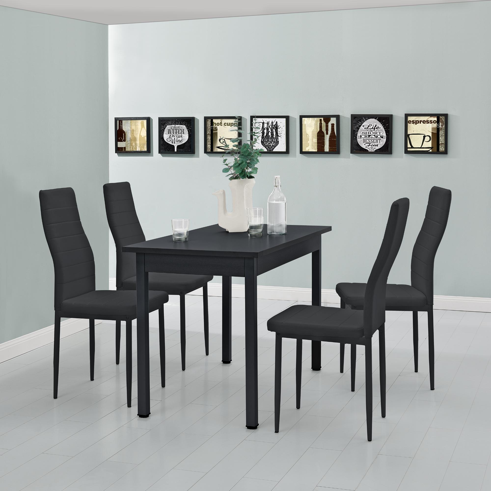 en.casa]® Esstisch mit 4 Stühlen schwarz 120x60cm Küchentisch ...
