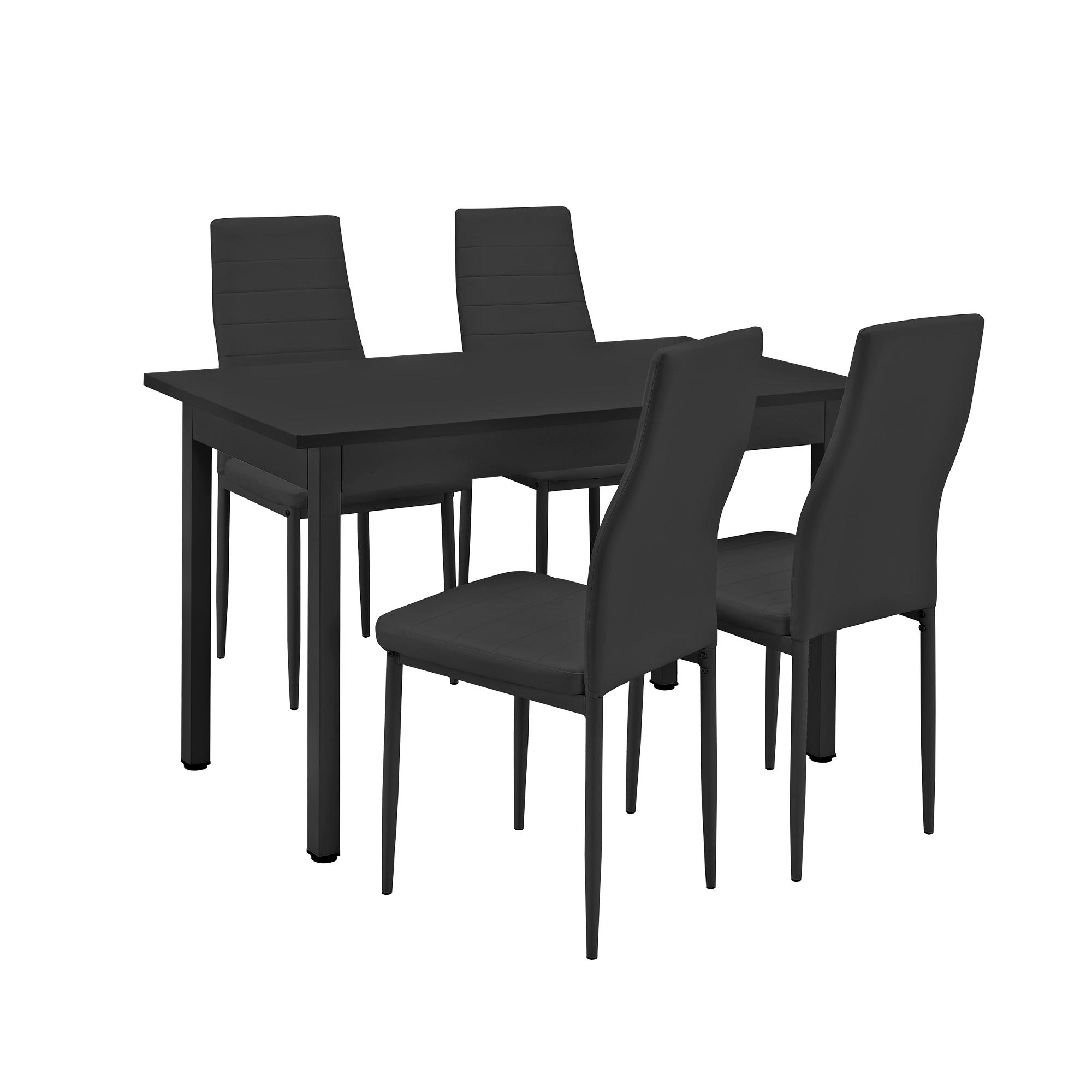 [ensa] Esstisch Mit 4 Stühlen Schwarz 120x60cm