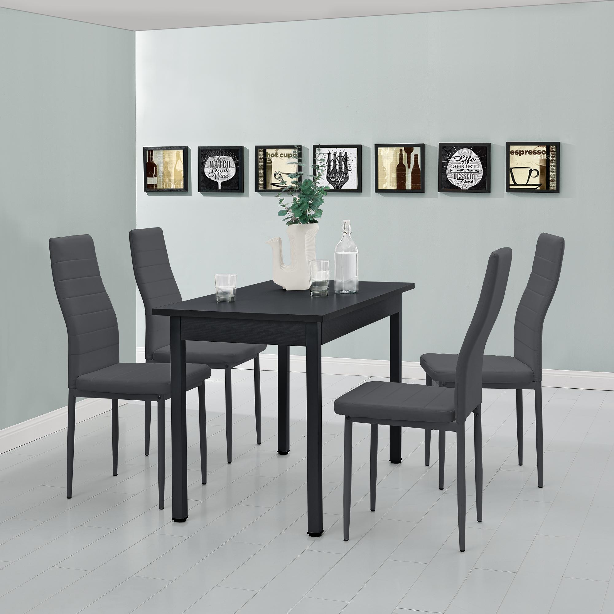 [en.casa]® Esstisch mit 4 Stühlen schwarz/grau 120x60 Küchentisch Esszimmertisch