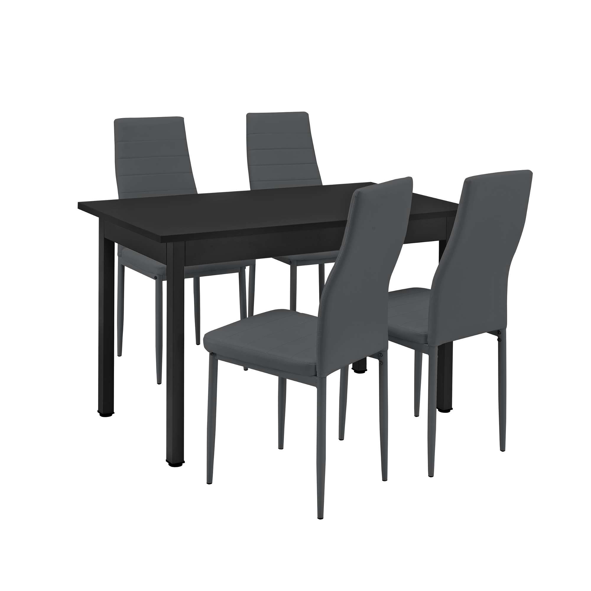 en.casa]® Table à manger + 4 chaises noir/gris 120x60 table de ...