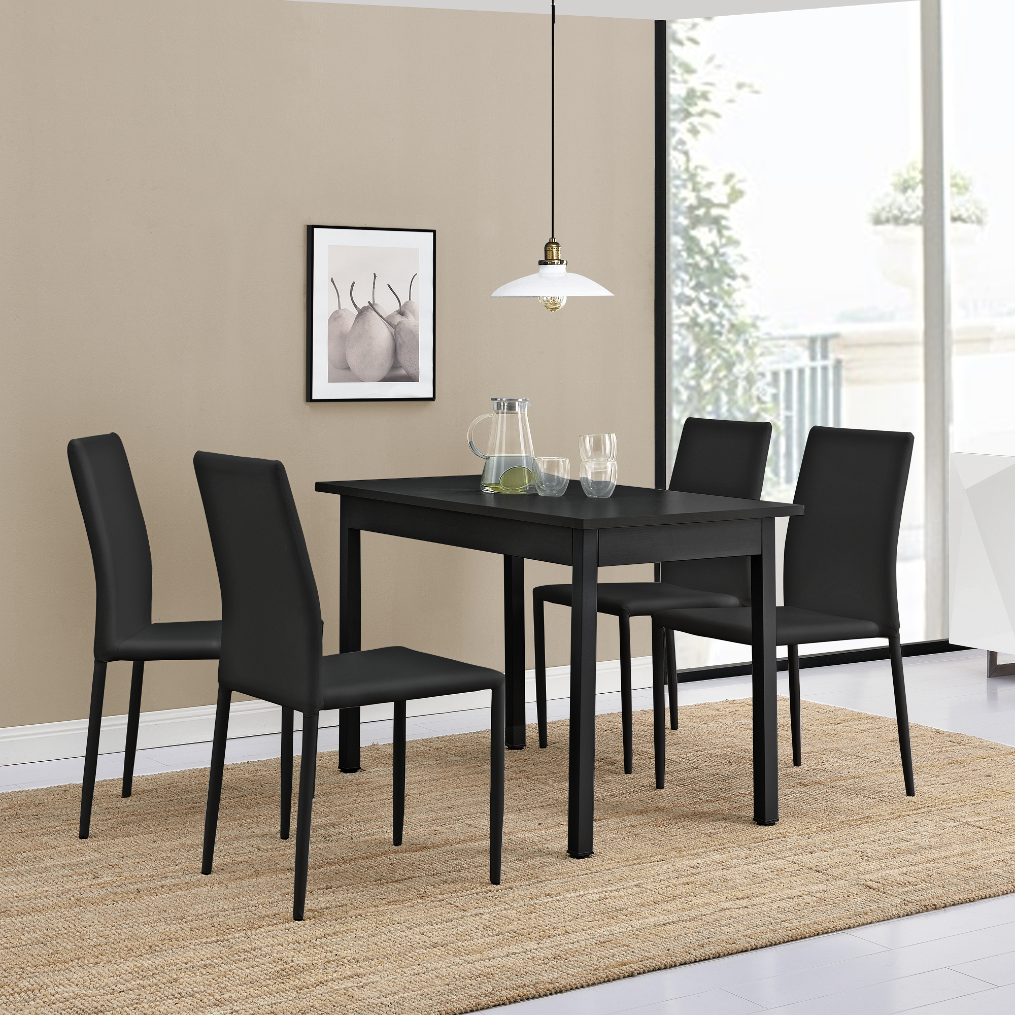 Table de manger avec 4 chaises noir 120x60 - Set de table en liege ...