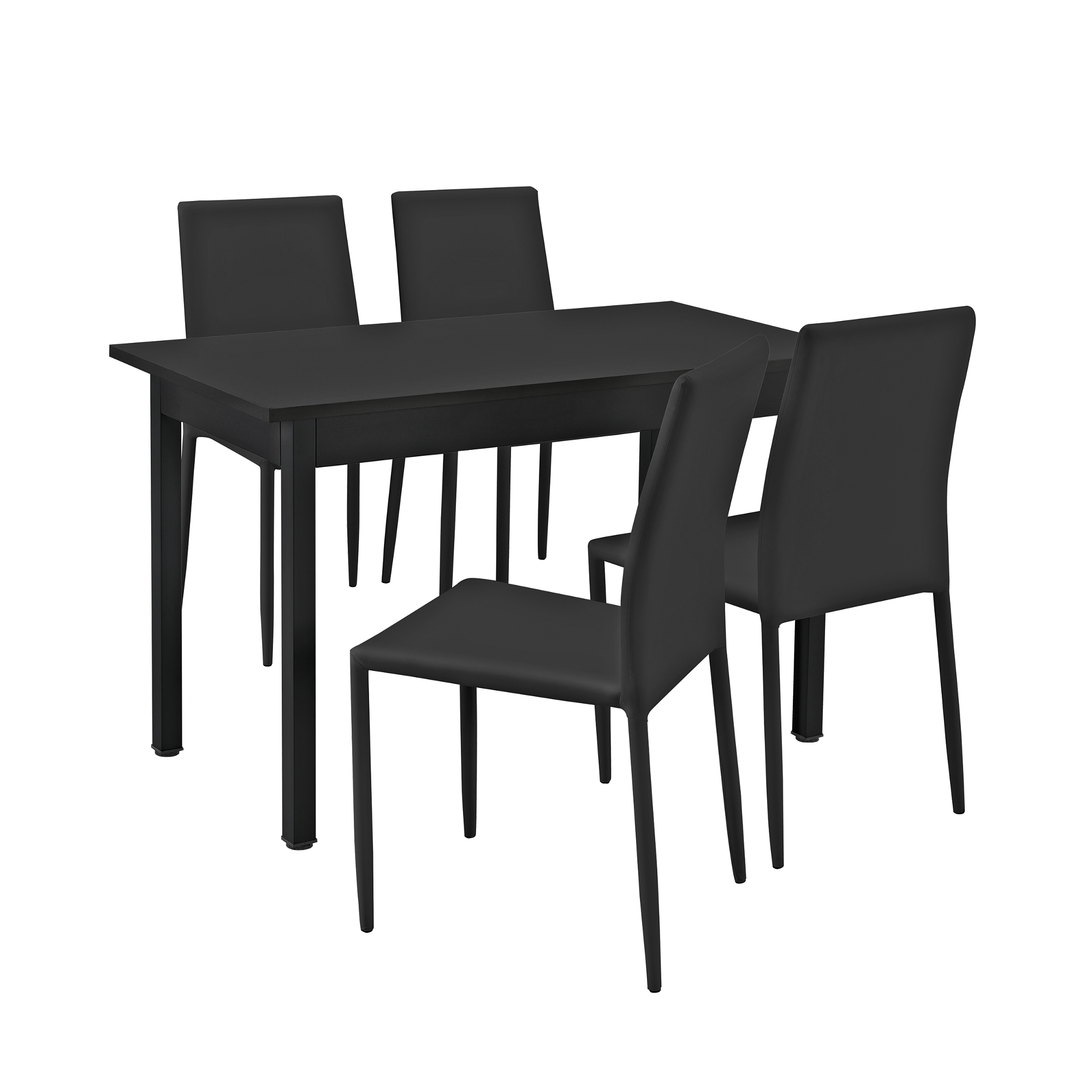 table de manger avec 4 chaises noir 120x60 table cuisine set de table ebay. Black Bedroom Furniture Sets. Home Design Ideas