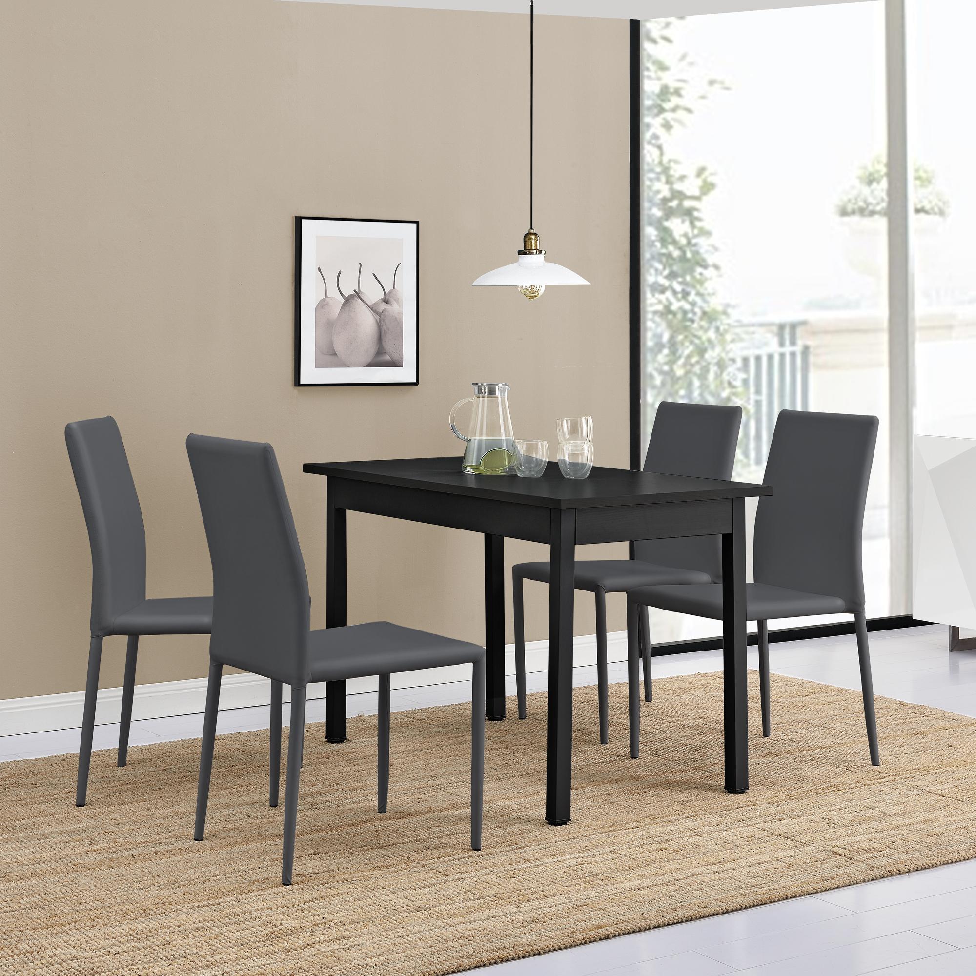 Tavolo da Pranzo con 4 Sedie Nero/Grigio 120x60 Cucina Sala | eBay