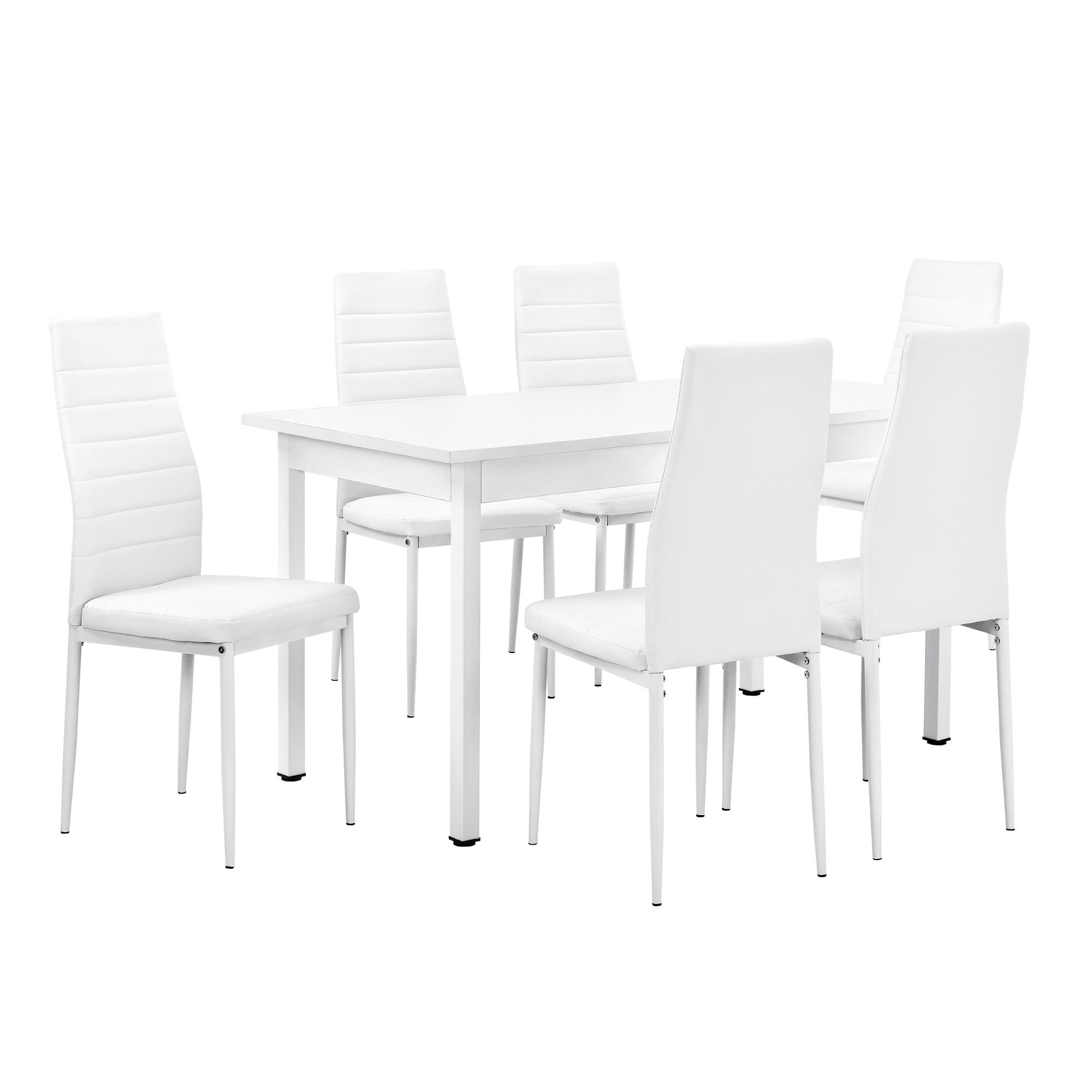 en.casa]® Esstisch mit 6 Stühlen weiß 140x60cm Küchentisch ...