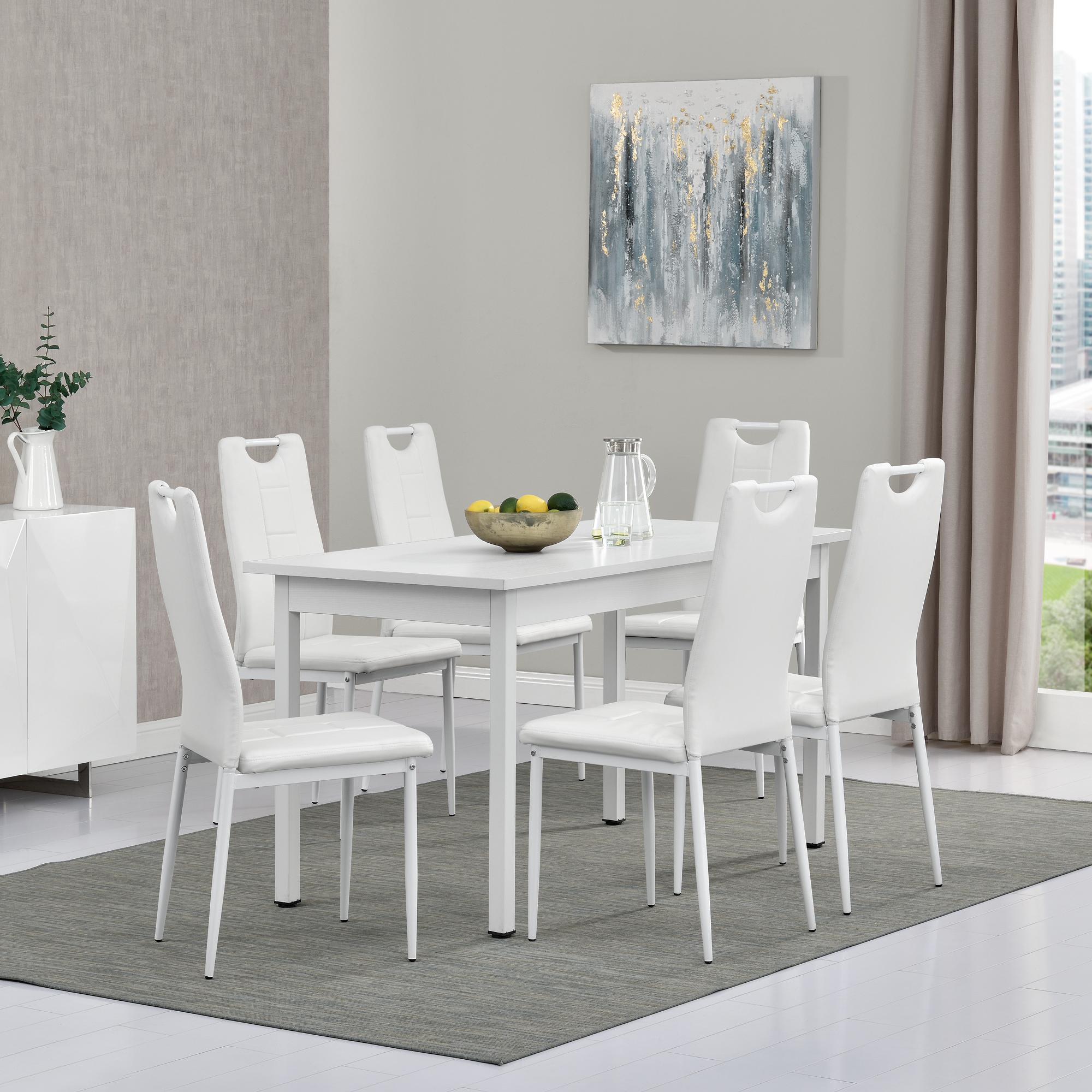 esstisch mit 6 st hlen wei 140x60cm k chentisch stuhl mit griff ebay. Black Bedroom Furniture Sets. Home Design Ideas