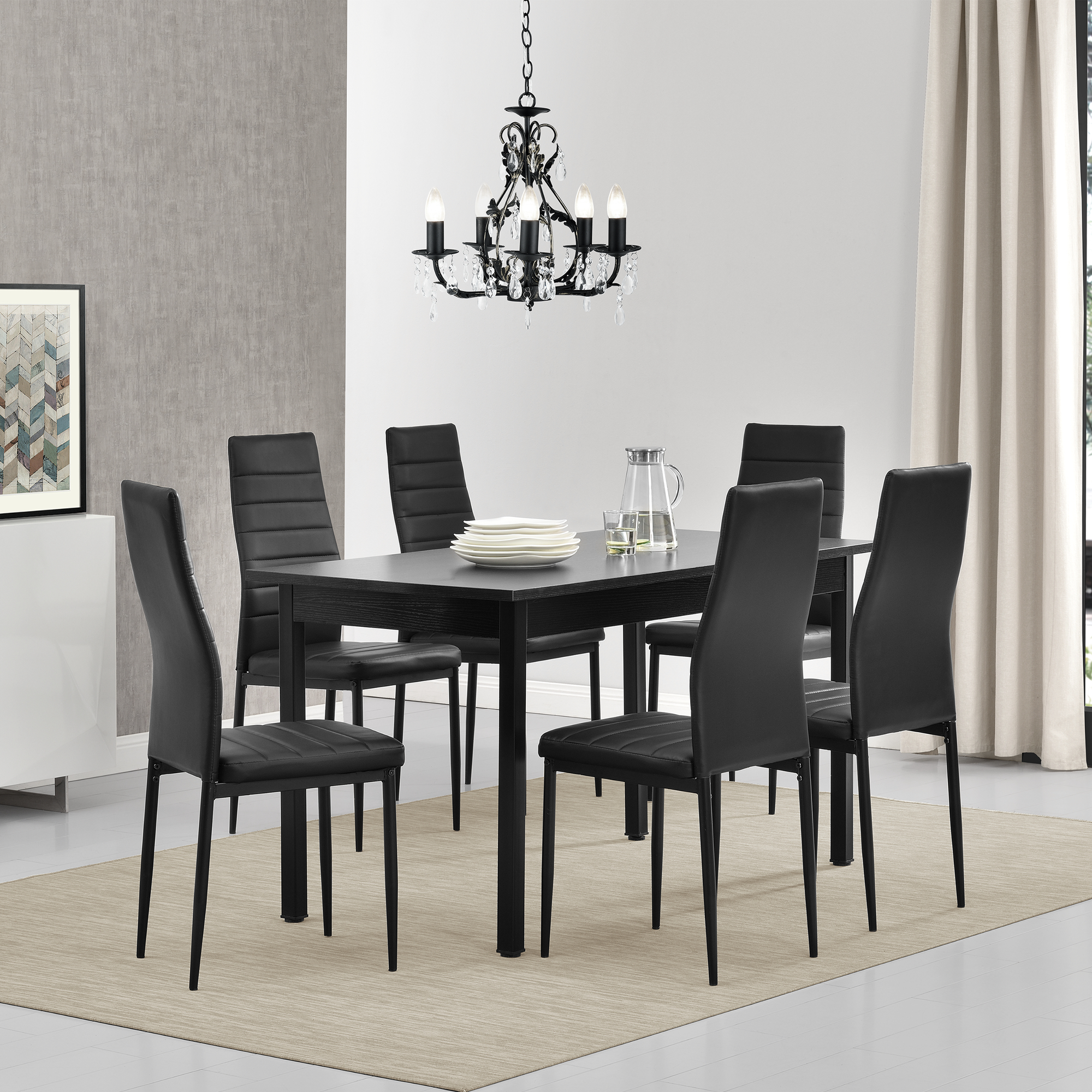 esstisch mit 6 st hlen schwarz 140x60cm k chentisch esszimmertisch ebay. Black Bedroom Furniture Sets. Home Design Ideas