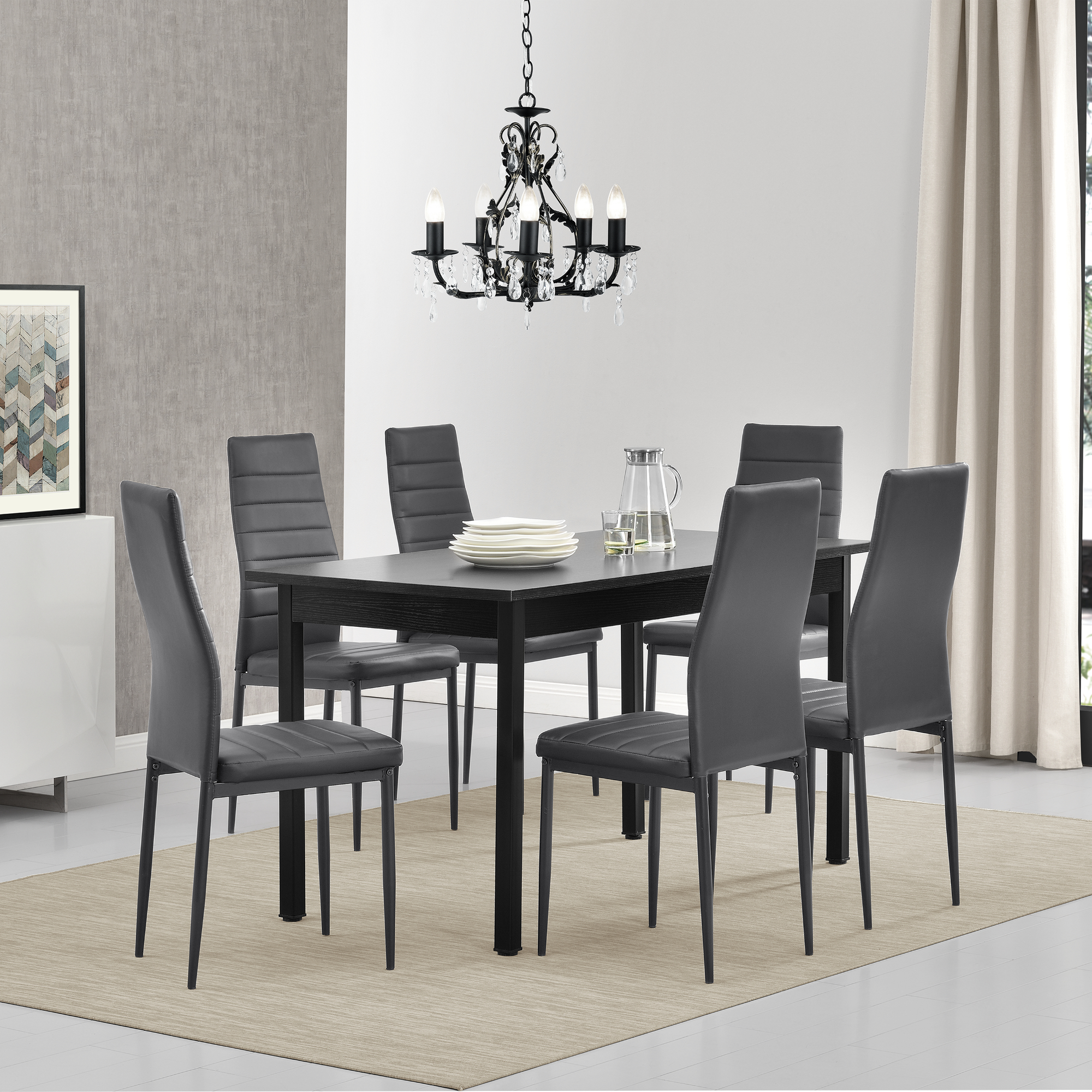 esstisch mit 6 st hlen schwarz grau 140x60 k chentisch esszimmertisch ebay. Black Bedroom Furniture Sets. Home Design Ideas