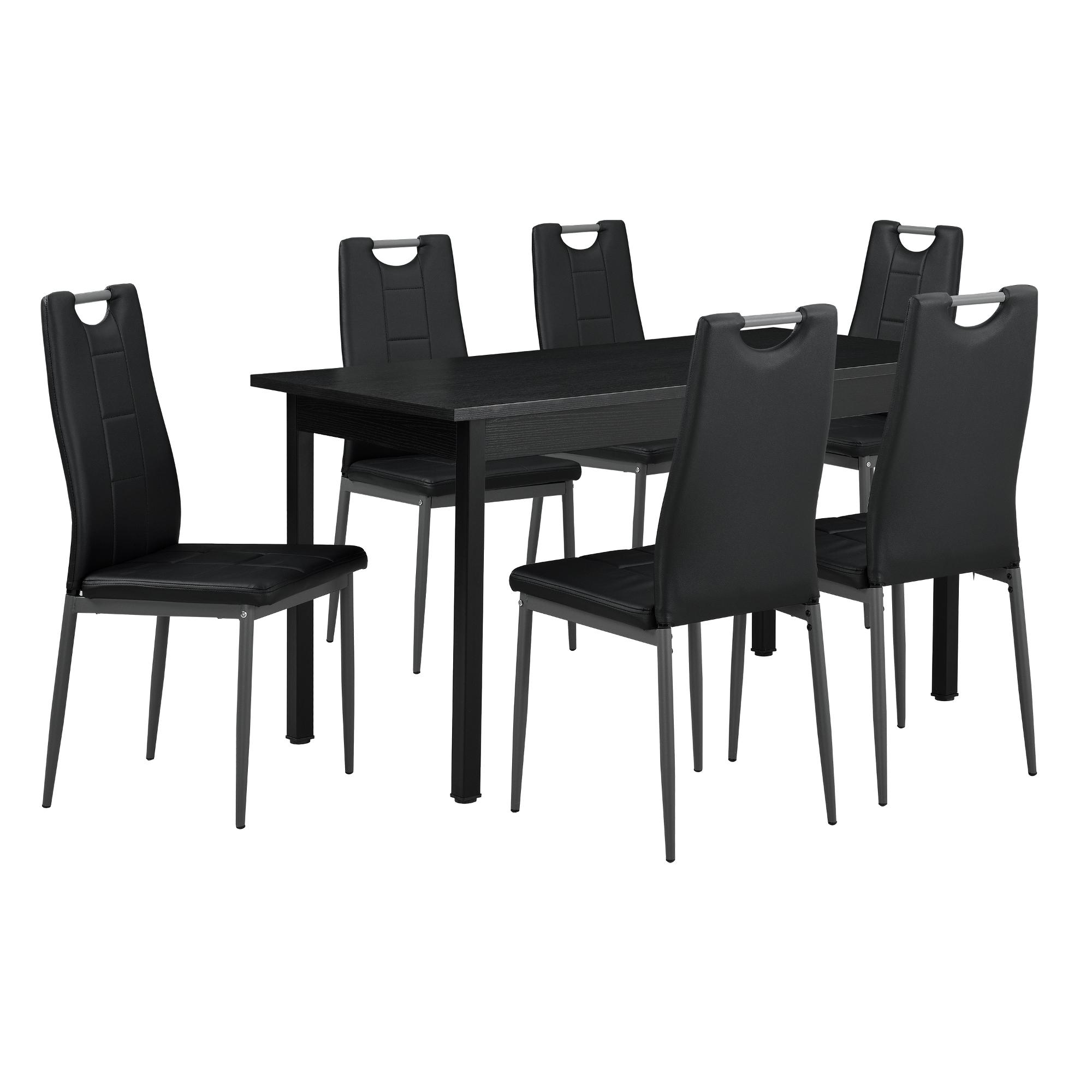 en.casa]® Table à manger 6 chaises noir 140x60cm table de cuisine ...