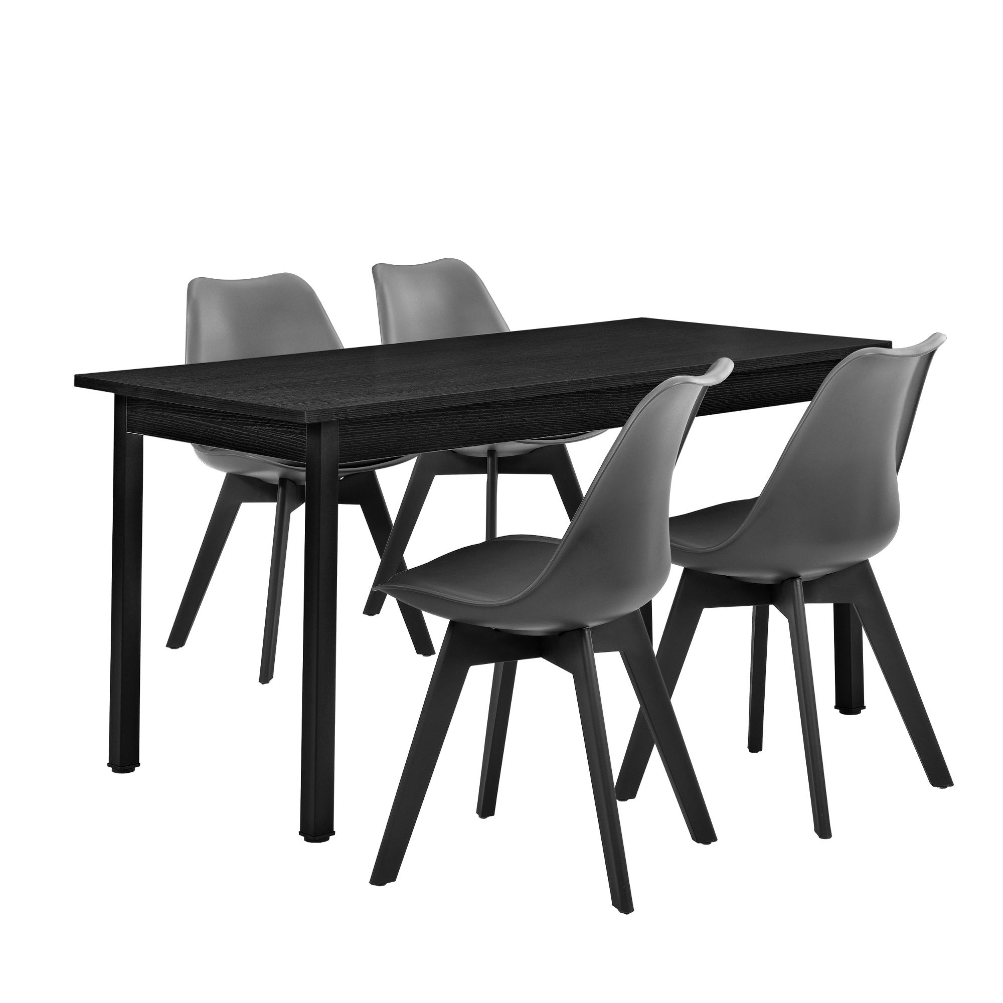 en.casa] Esstisch mit 4 Stühlen schwarz/grau 140x60cm Küchentisch ...