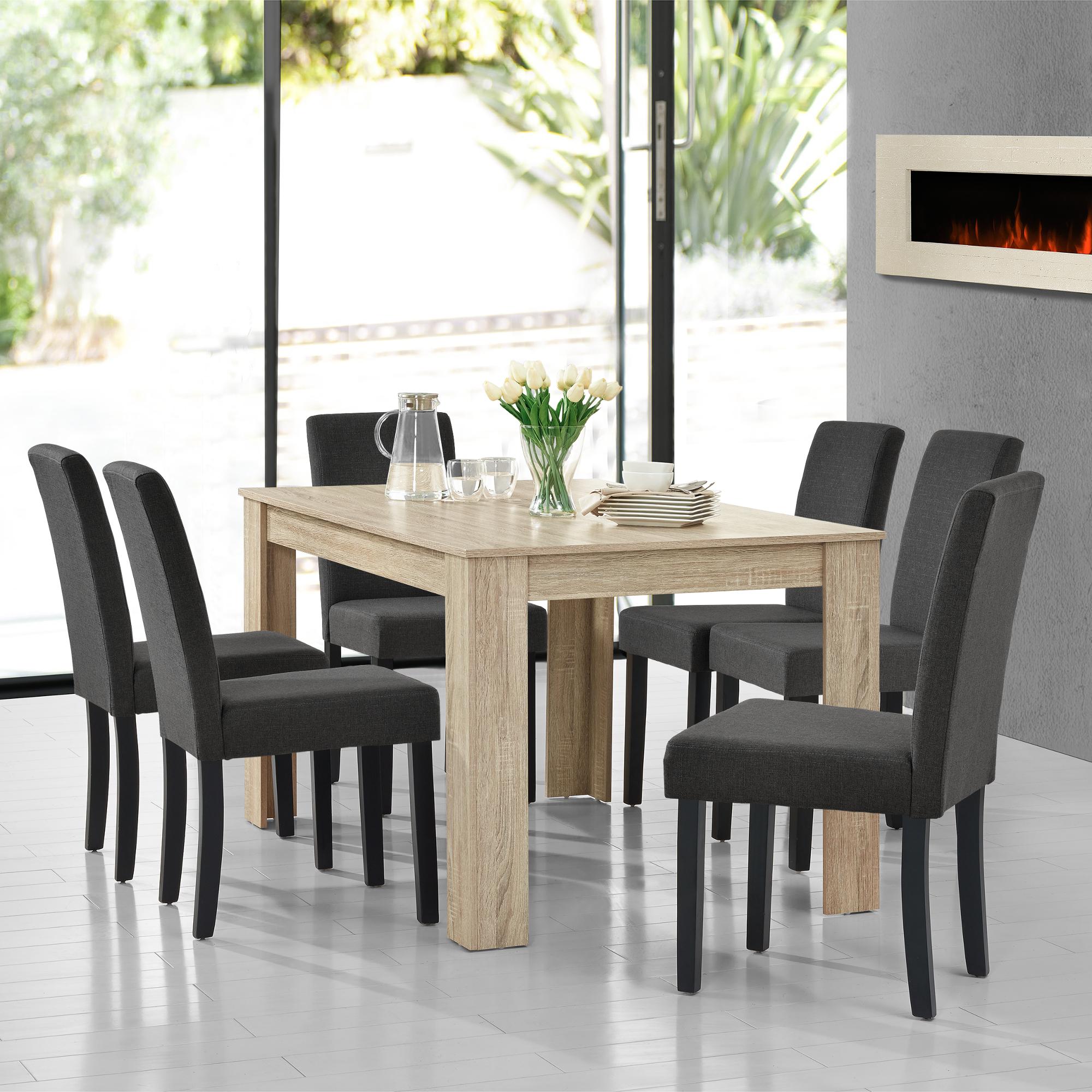 esstisch gek lkte eiche mit 6 st hlen grau textil 140x90 tisch st hle ebay. Black Bedroom Furniture Sets. Home Design Ideas