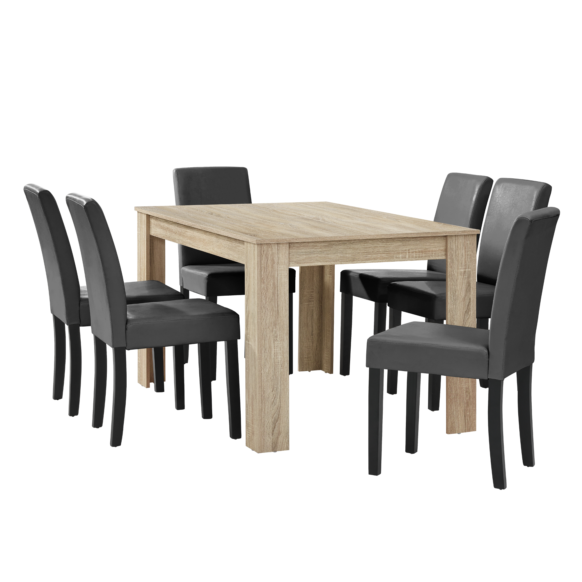 dining table limed oak with 6 chairs dark grey 140x90 table chairs