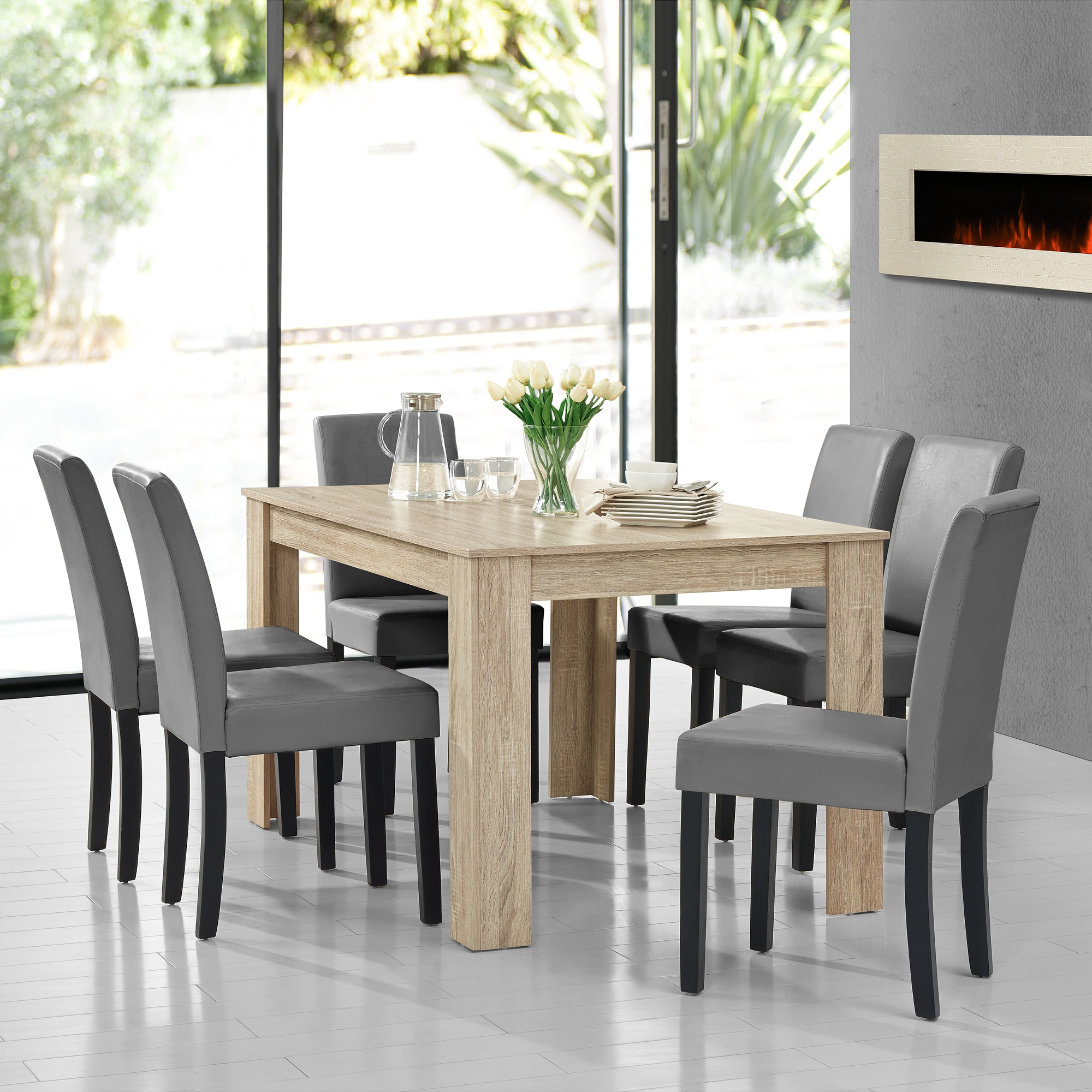 Dining table limed oak with 6 chairs light grey 140x90 table chairs ebay - Limed oak dining tables ...