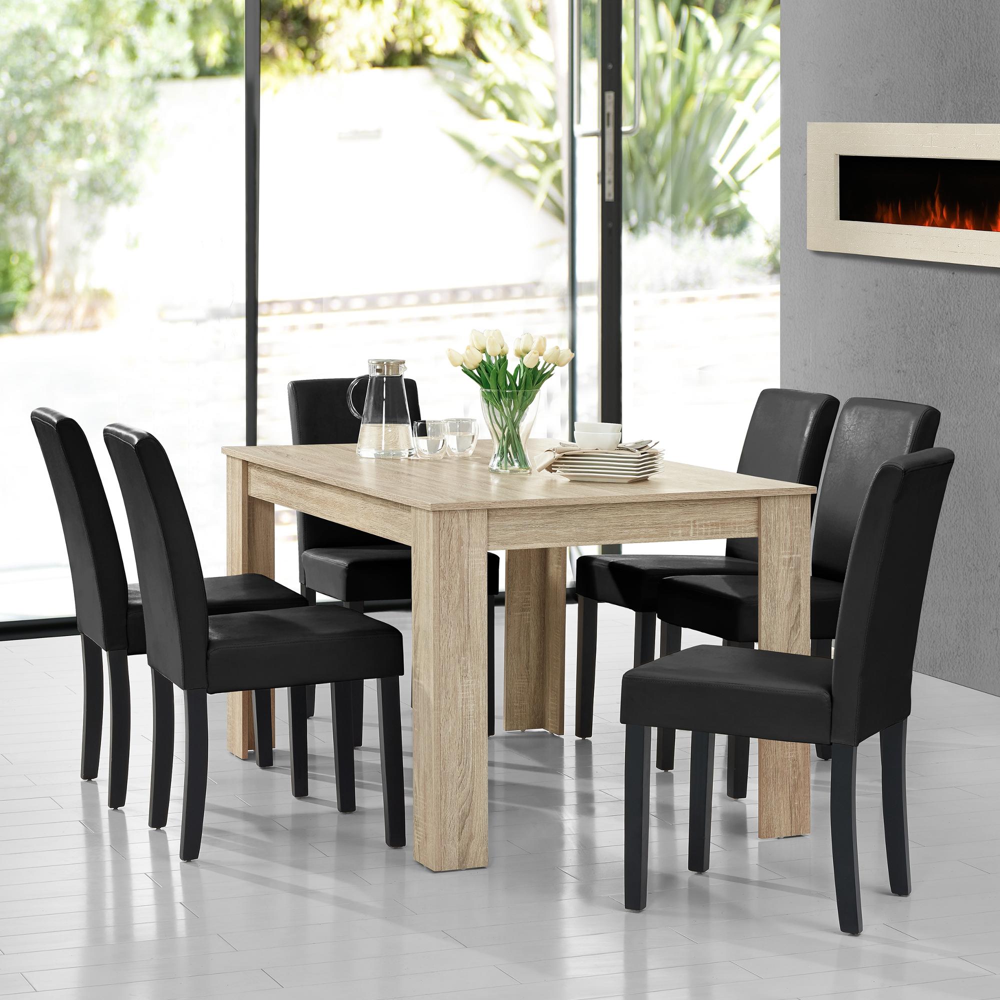[en.casa] Moderner Esstisch Tisch Esszimmer Küchentisch Retro Rund Eckig  Eiche | EBay