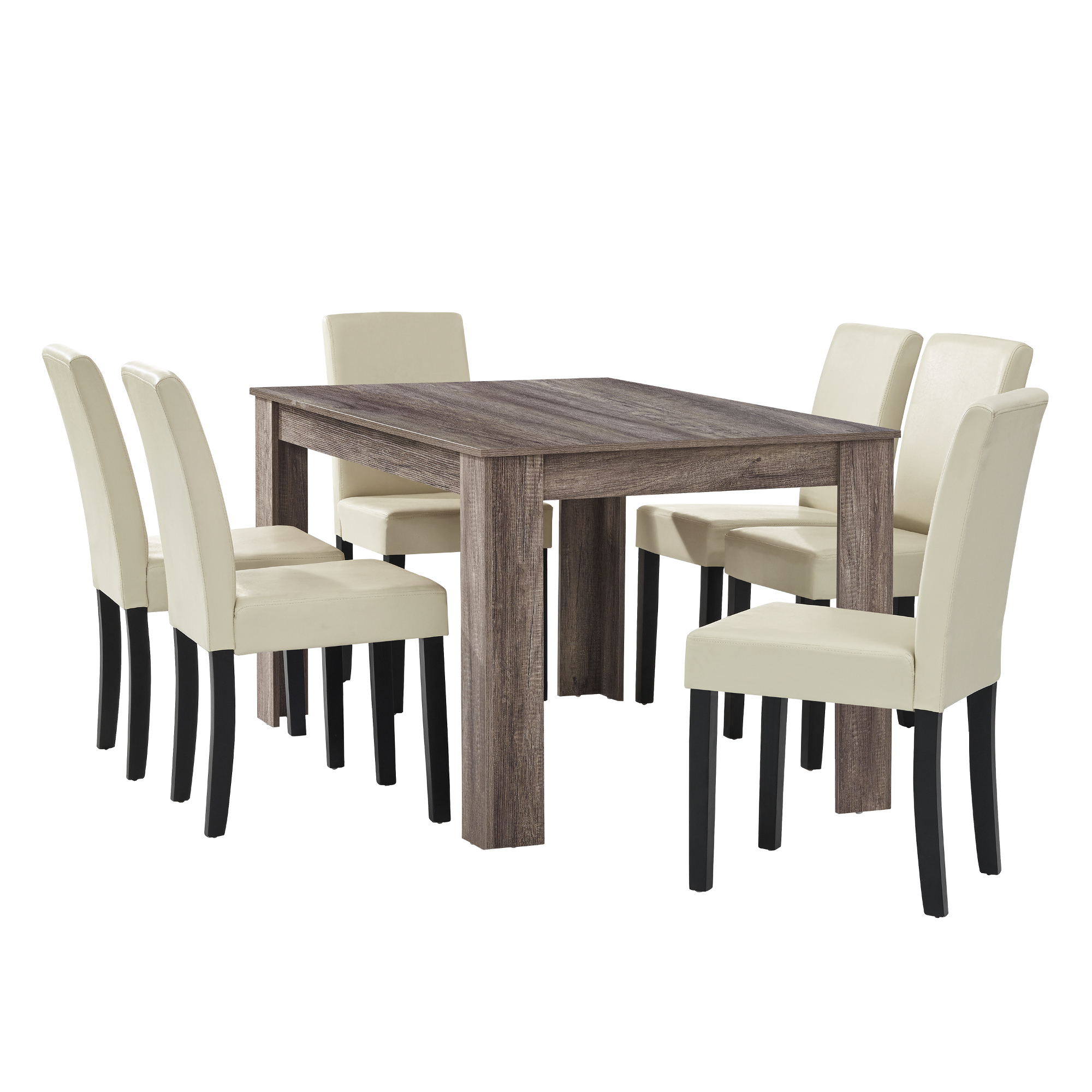 en.casa] Esstisch antik Eiche mit 6 Stühlen creme [140x90] Tisch ...