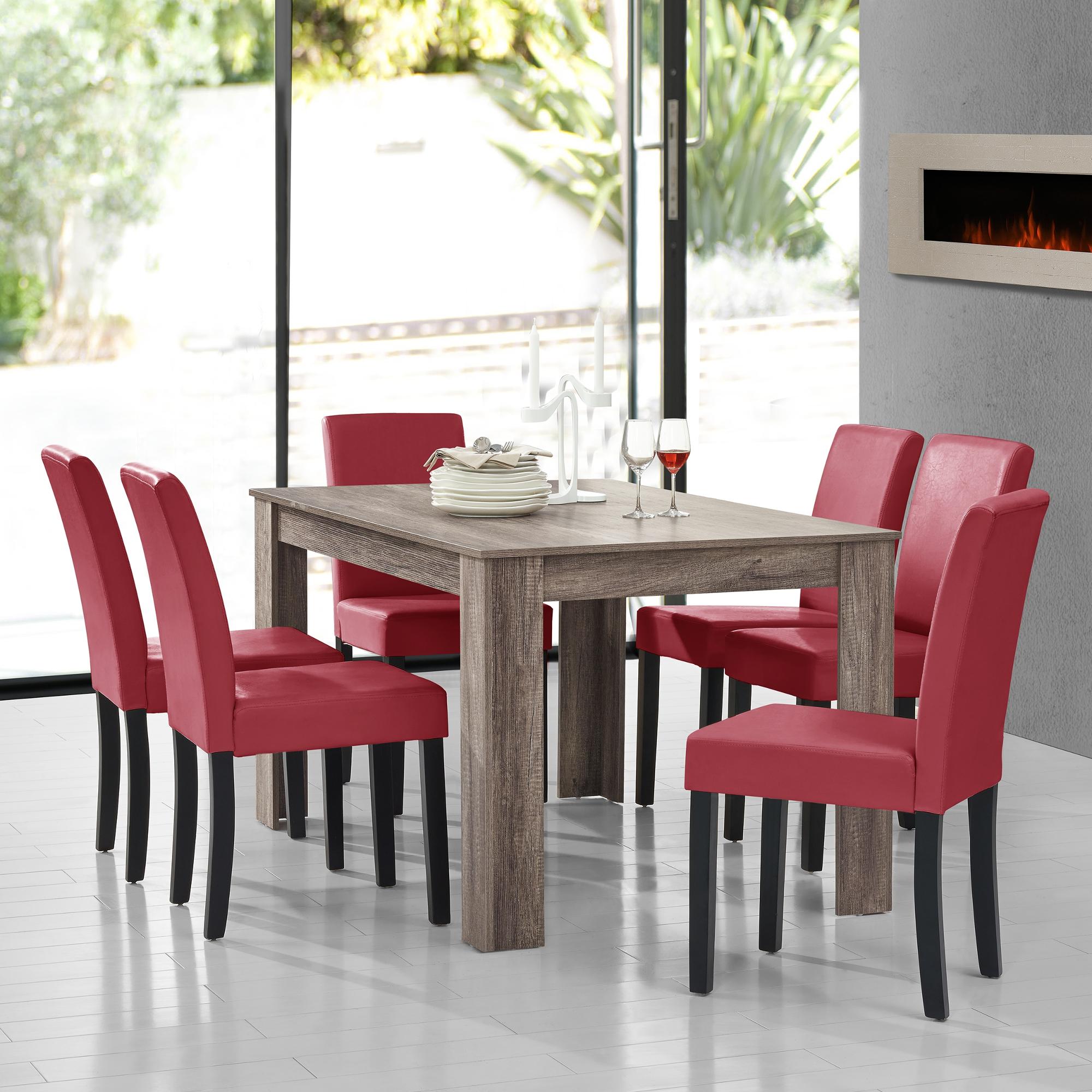 A Manger Ancien Chene Avec 6 Chaises Rouge Fonce 140x90 Table