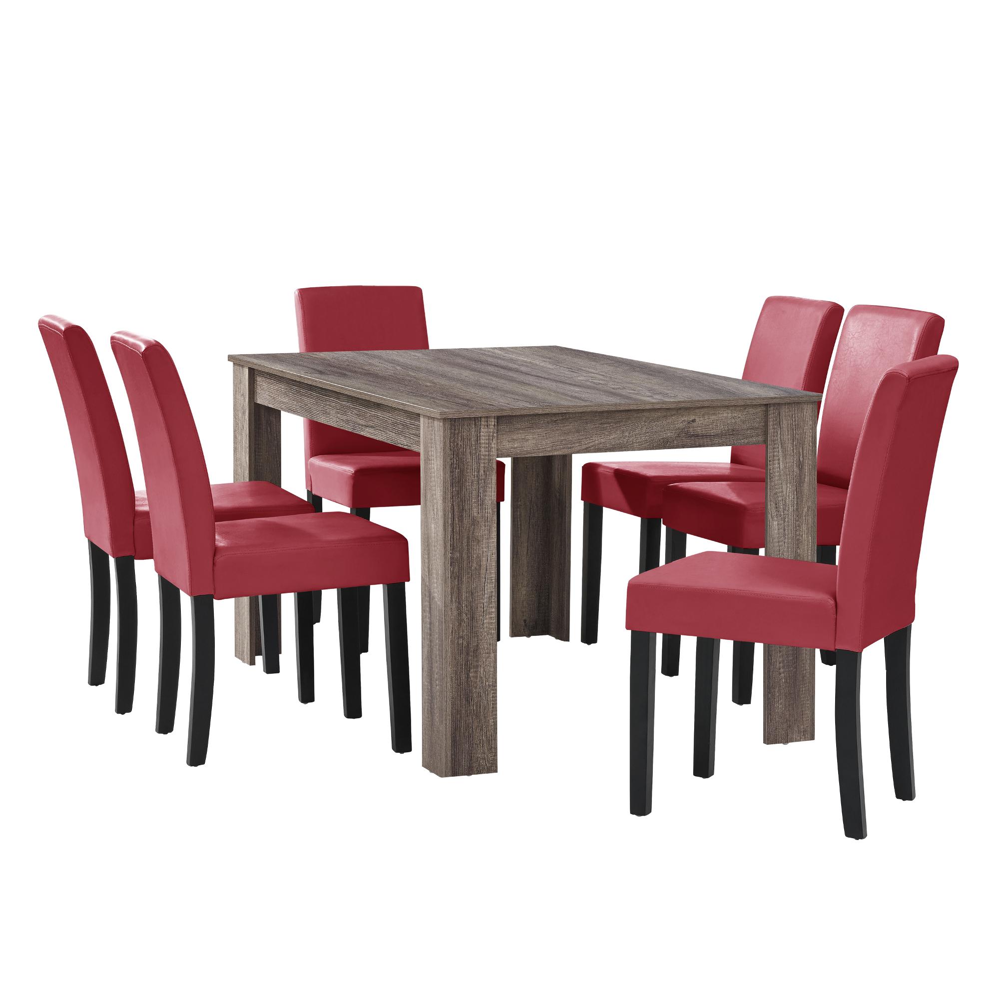 [en.casa] Tavolo da pranzo antico Rovere con 6 Sedie rosso scuro [140x90]  eBay