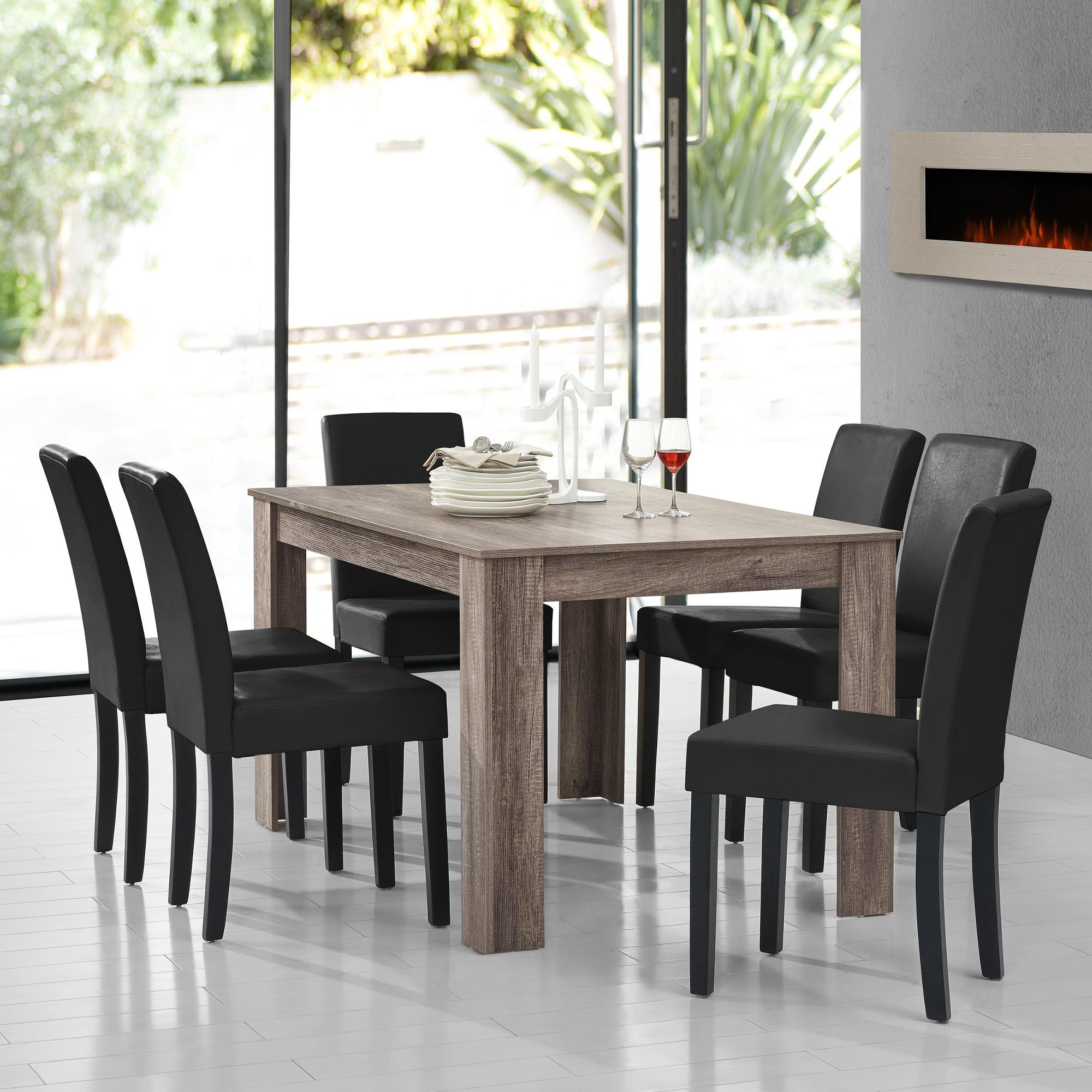 [en.casa] Dining Table antique Oak mit 6 Chairs black ...