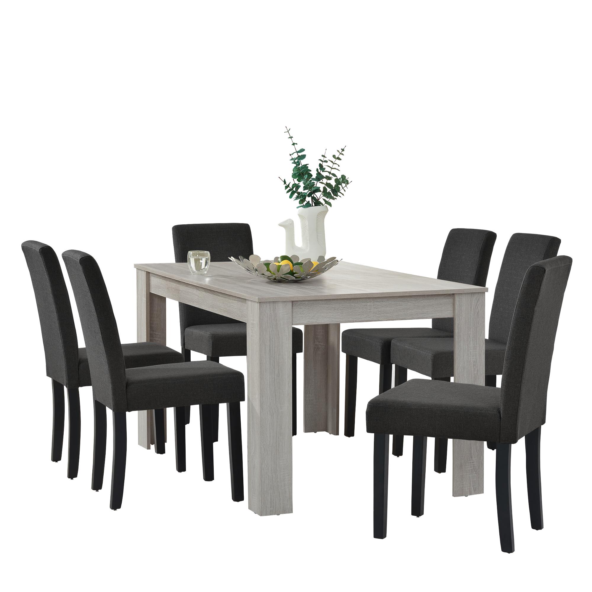 Esstisch Eiche weiß mit 6 Stühlen grau Textil [140x90] Tisch Stühle ...
