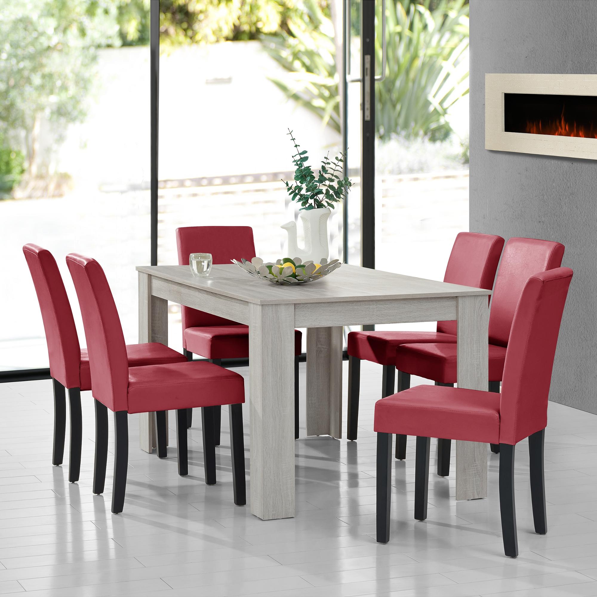 [en.casa] Tavolo da pranzo Rovere bianco con 6 Sedie rosso scuro 140x90 moderno  eBay