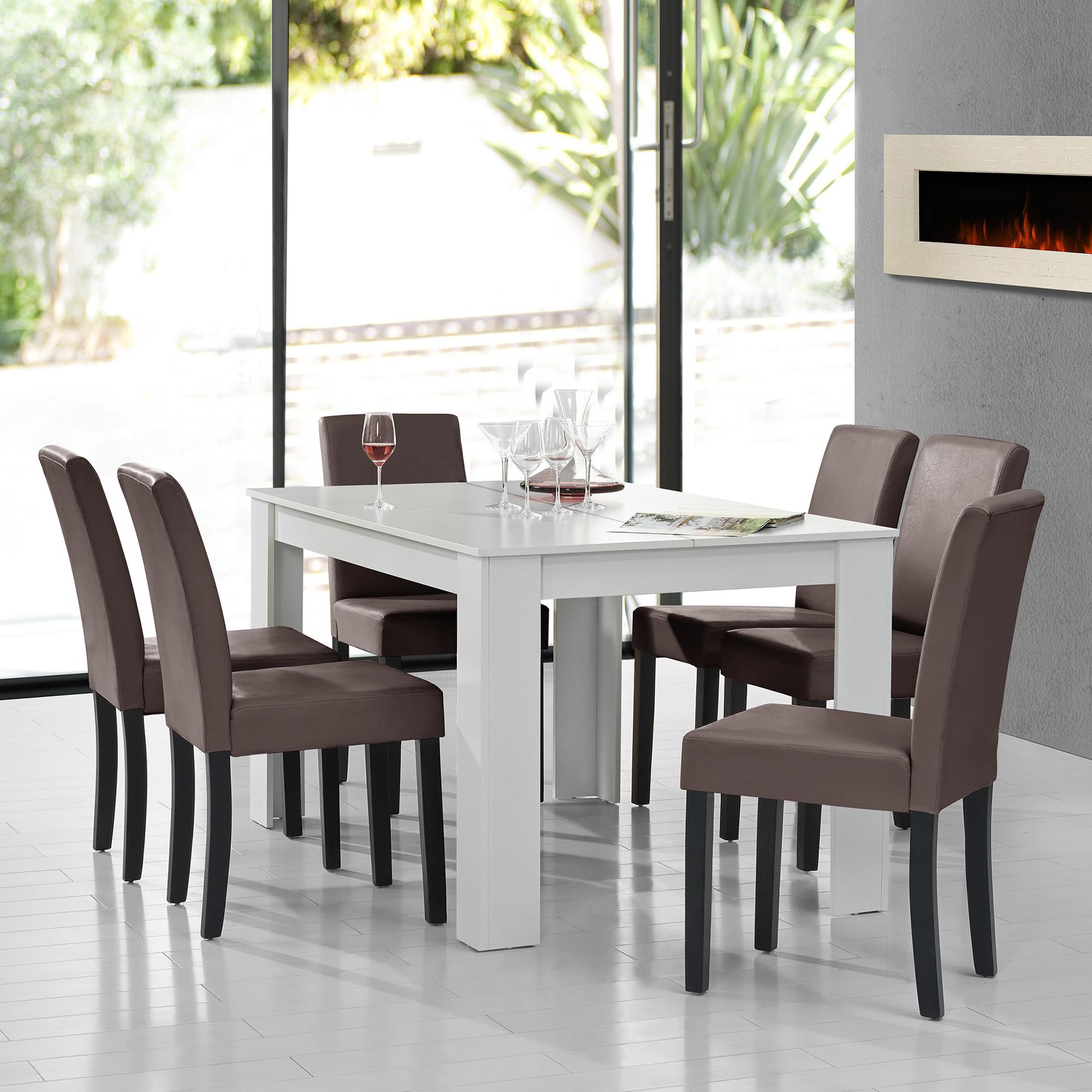 en.casa]® Set comedor mesa blanca + 6 sillas marrón [140x90 ...