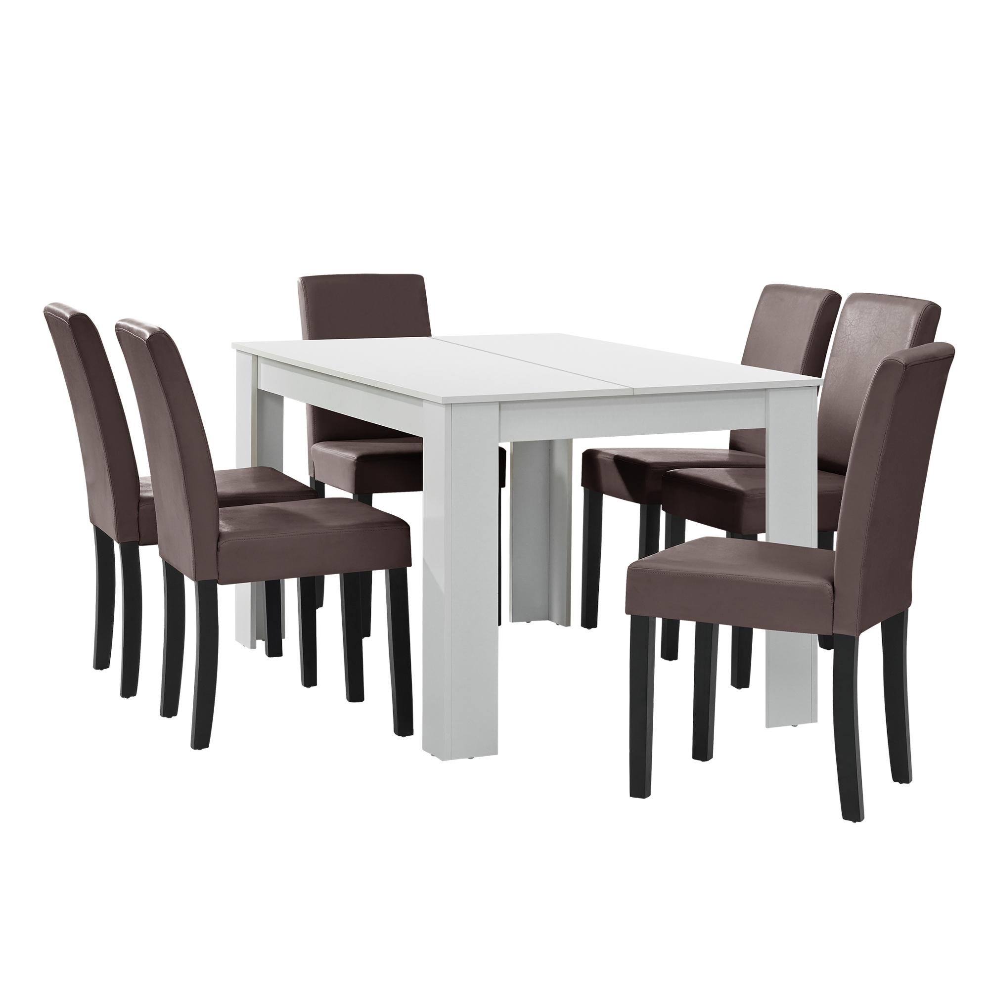 esstisch wei mit 6 st hlen braun 140x90 tisch st hle essgruppe ebay. Black Bedroom Furniture Sets. Home Design Ideas