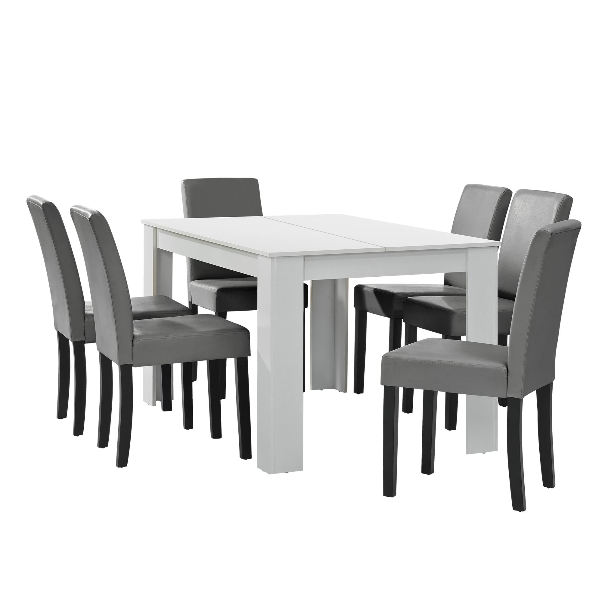 esstisch wei mit 6 st hlen hellgrau 140x90 tisch st hle essgruppe ebay. Black Bedroom Furniture Sets. Home Design Ideas