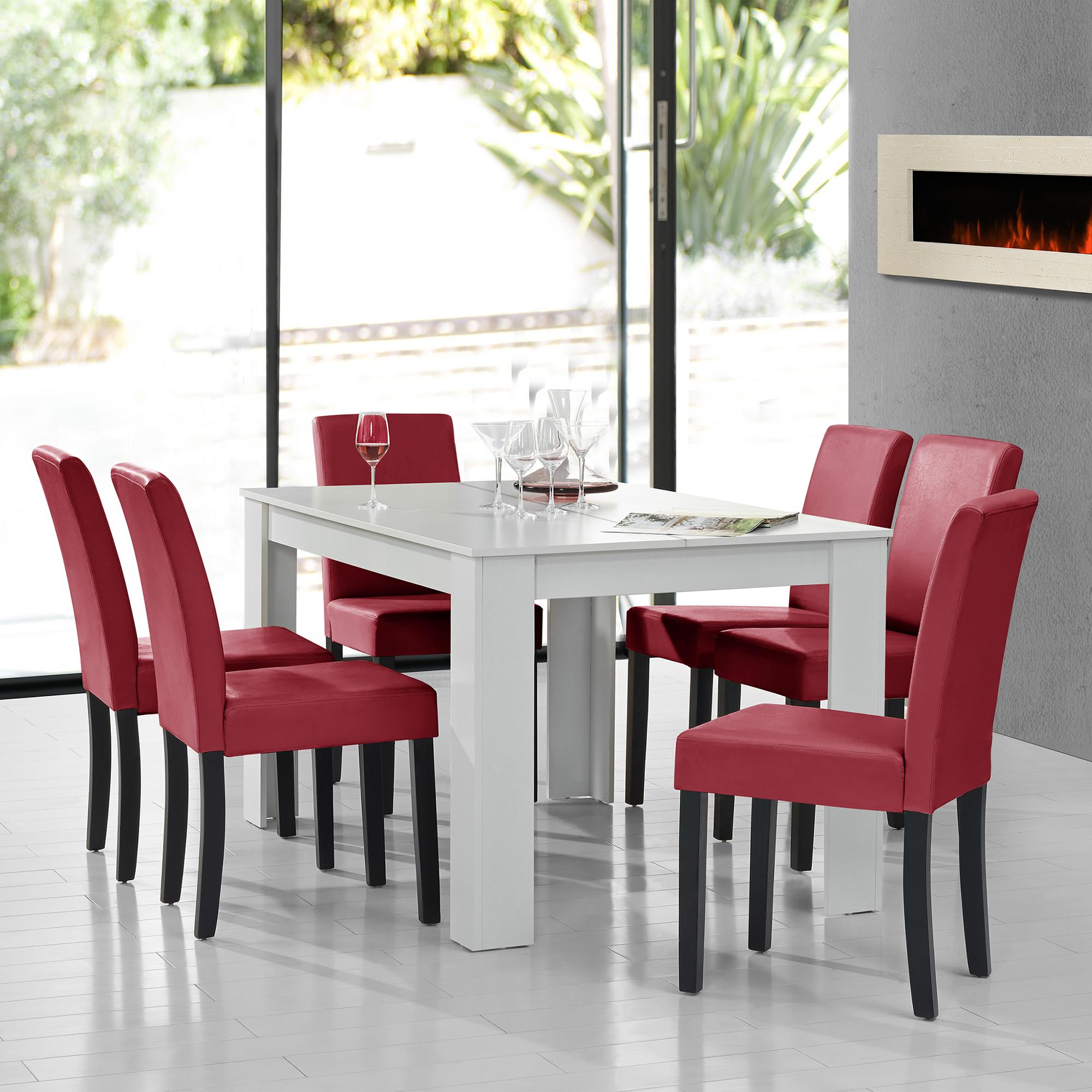 en.casa]® Esstisch weiß mit 6 Stühlen dunkelrot [140x90] Tisch ...